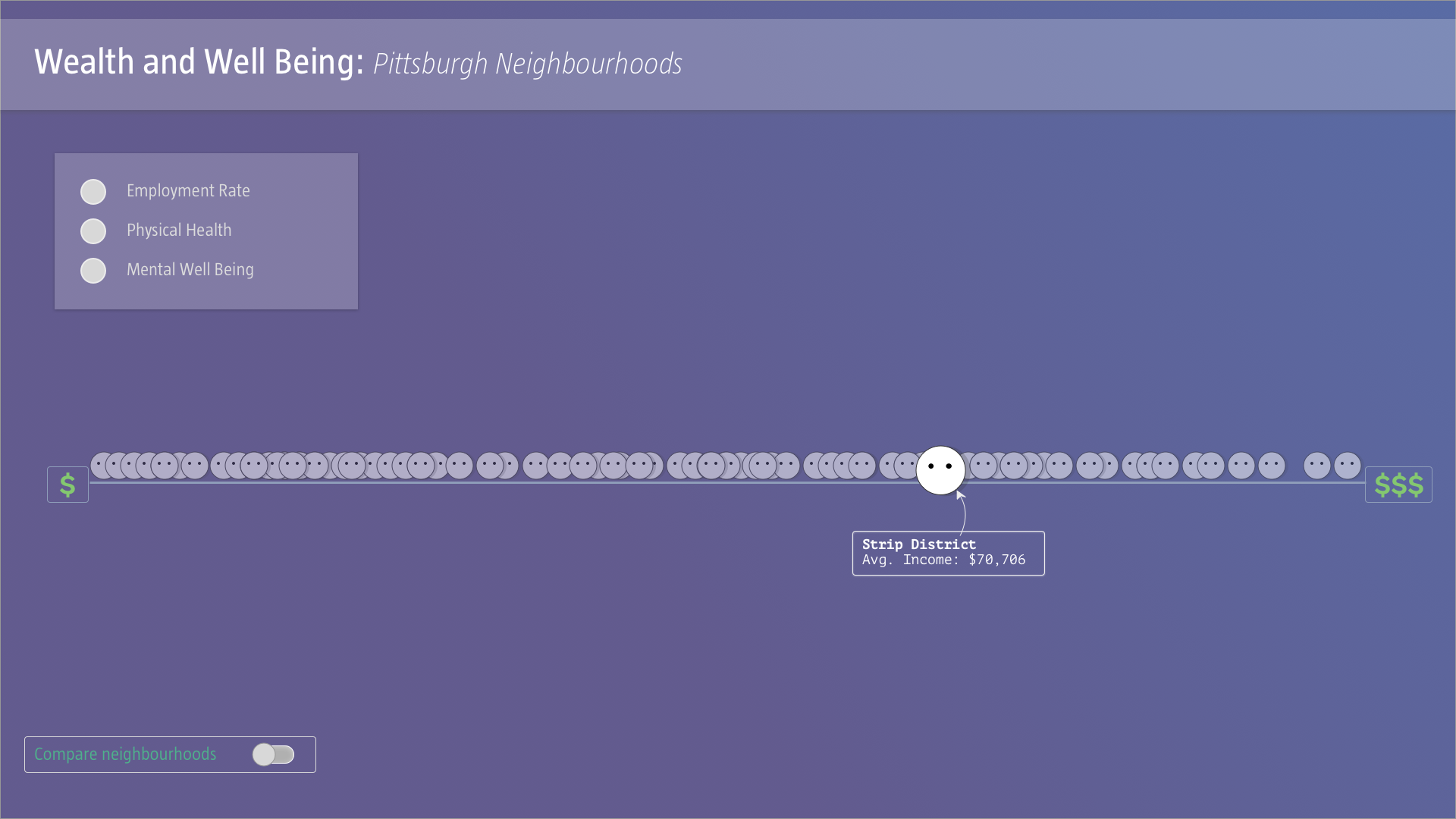 On clicking on a specific neighbourhood, one gets more details on the average income of the neighborhood.