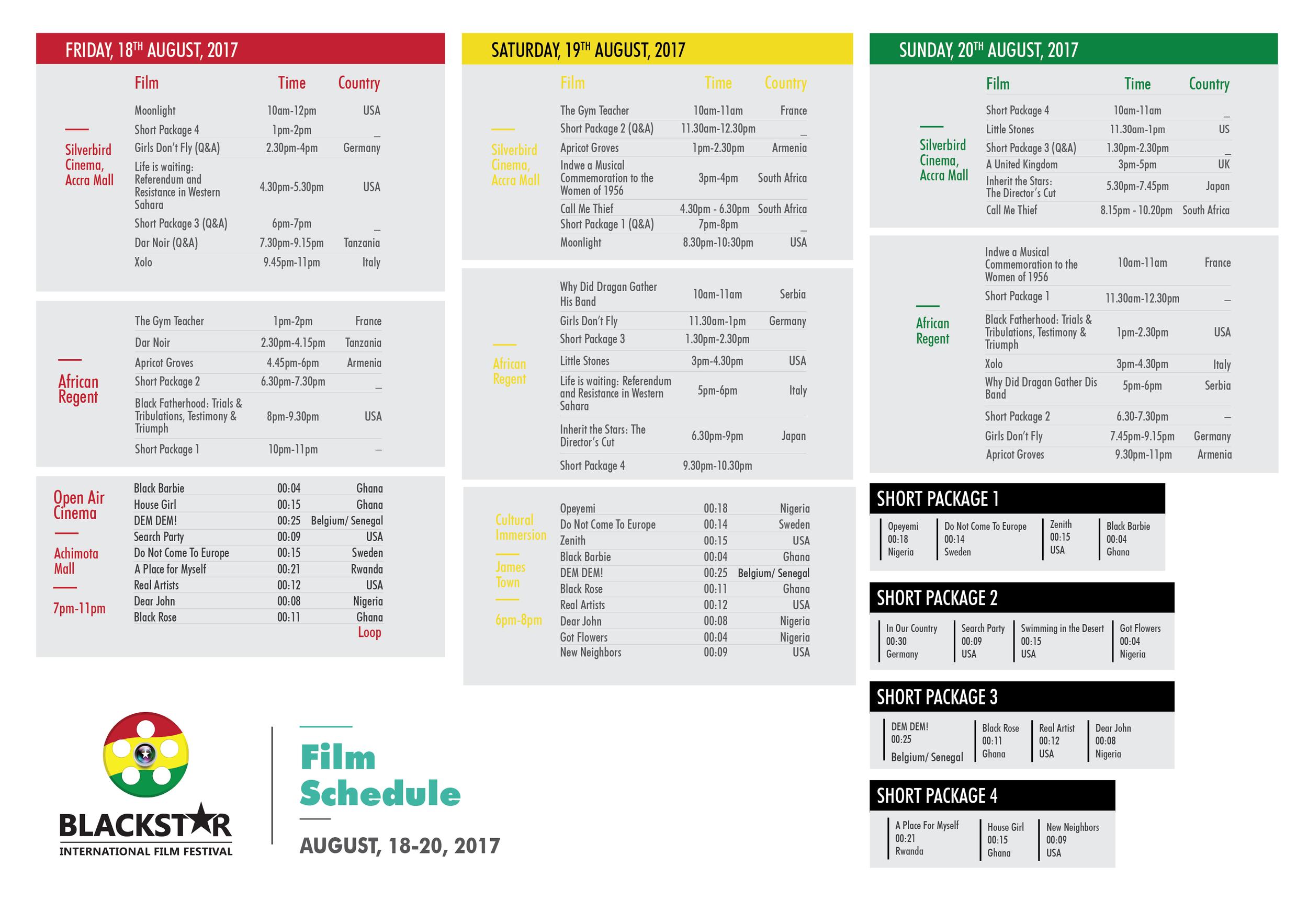 Film Schedule 2017