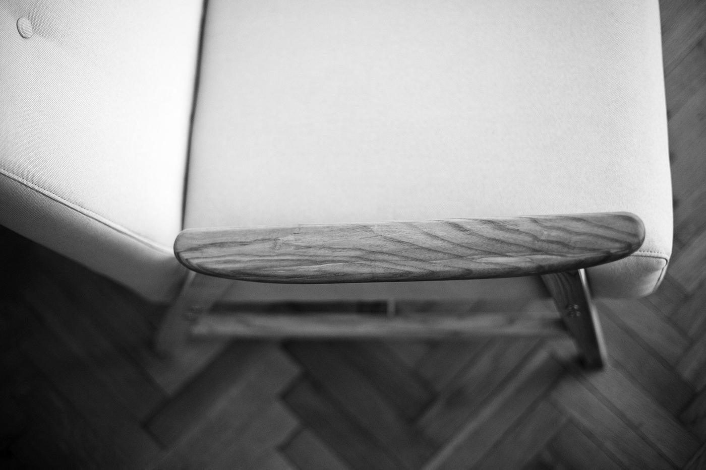 Lena armchair. Detail of ash wood.