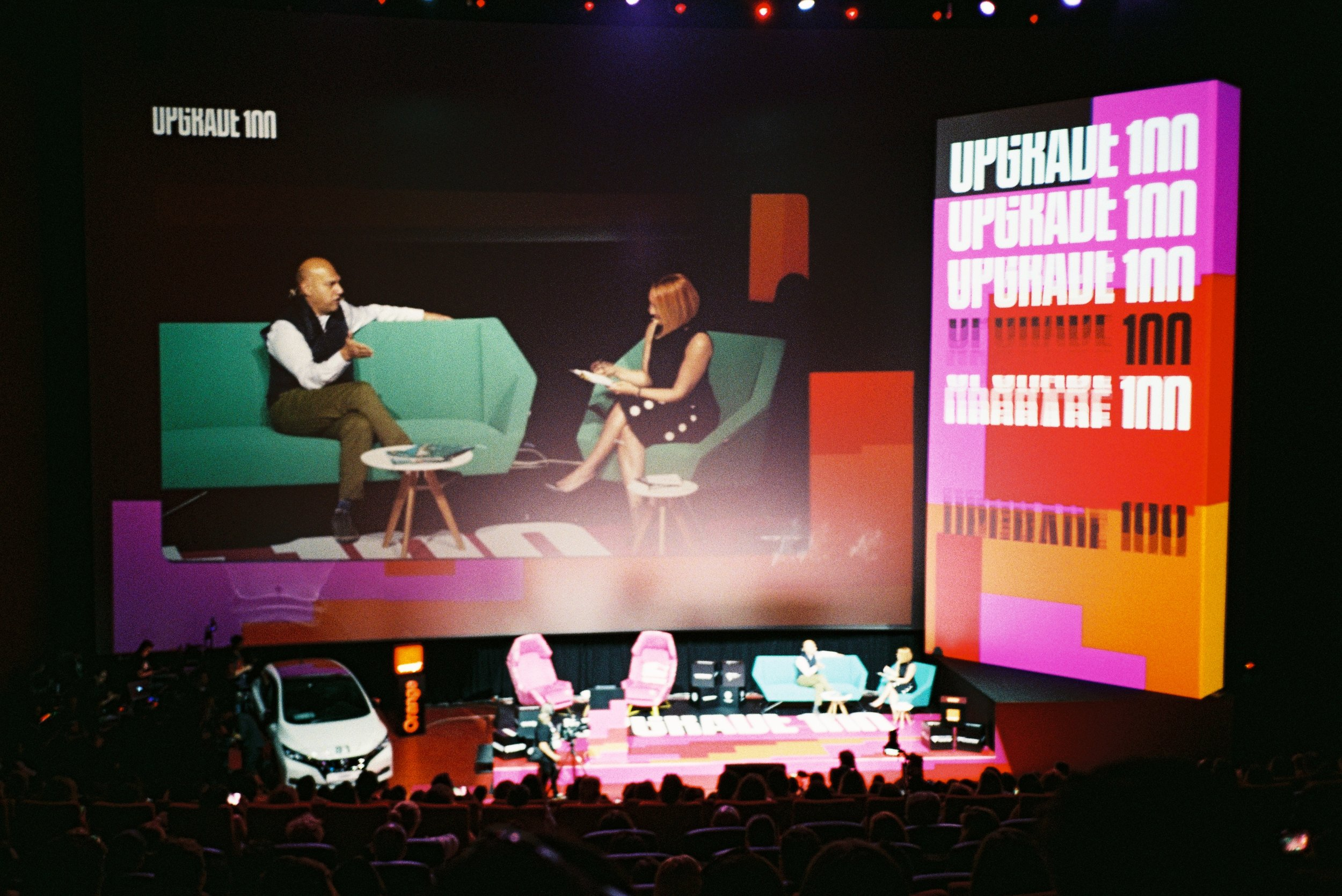 Salim Ismail interviewed by Andreea Esca on the main stage of Upgrade 100 in Bucharest, 14 June 2019. Shot on ISO 200 Fuji film with Olympus Mju II.