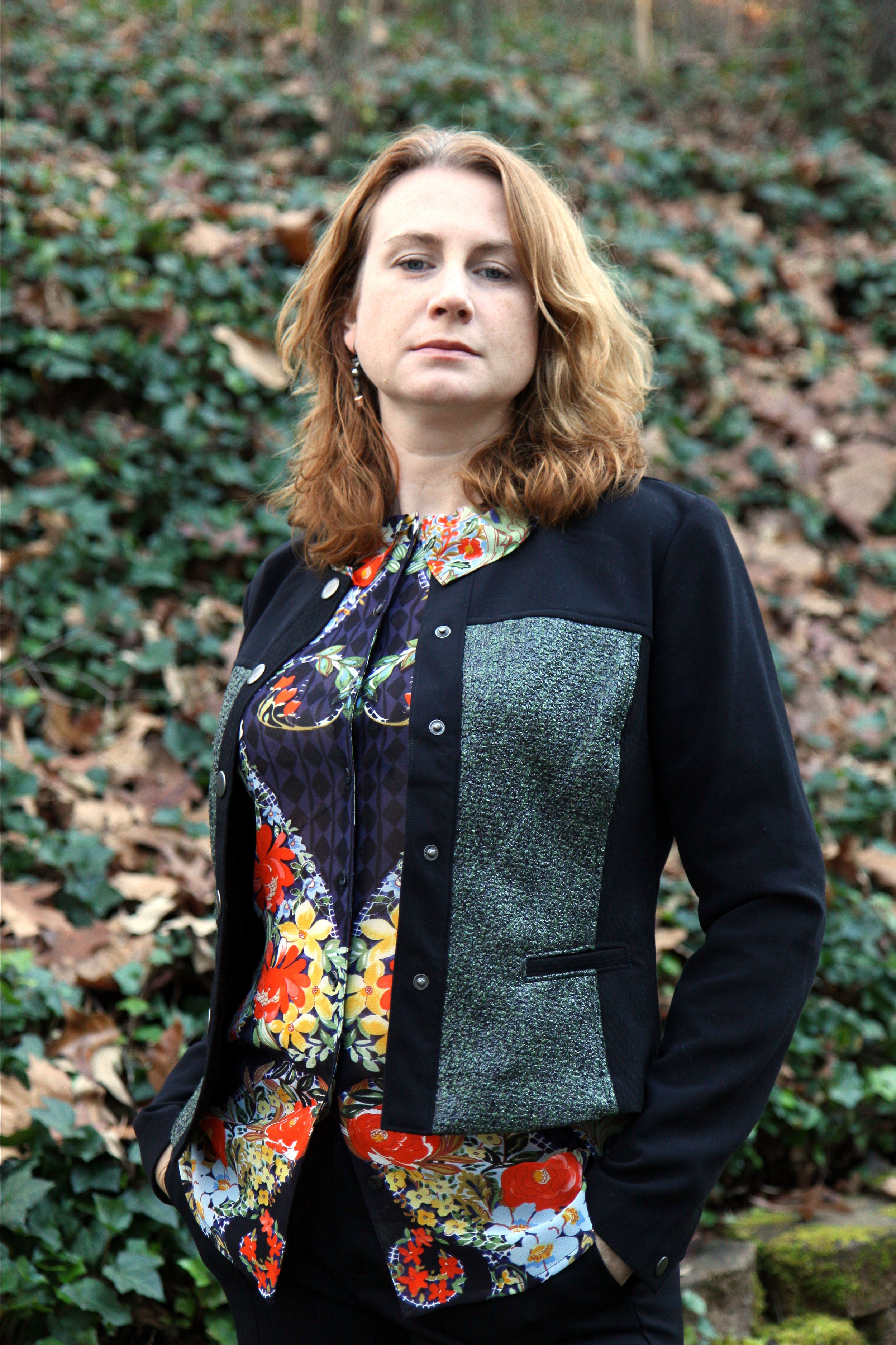 Clothing: cabi Fall 2015 Media Jacket, Amour Blouse, and Track pant. Stella + Dot earrings, not available