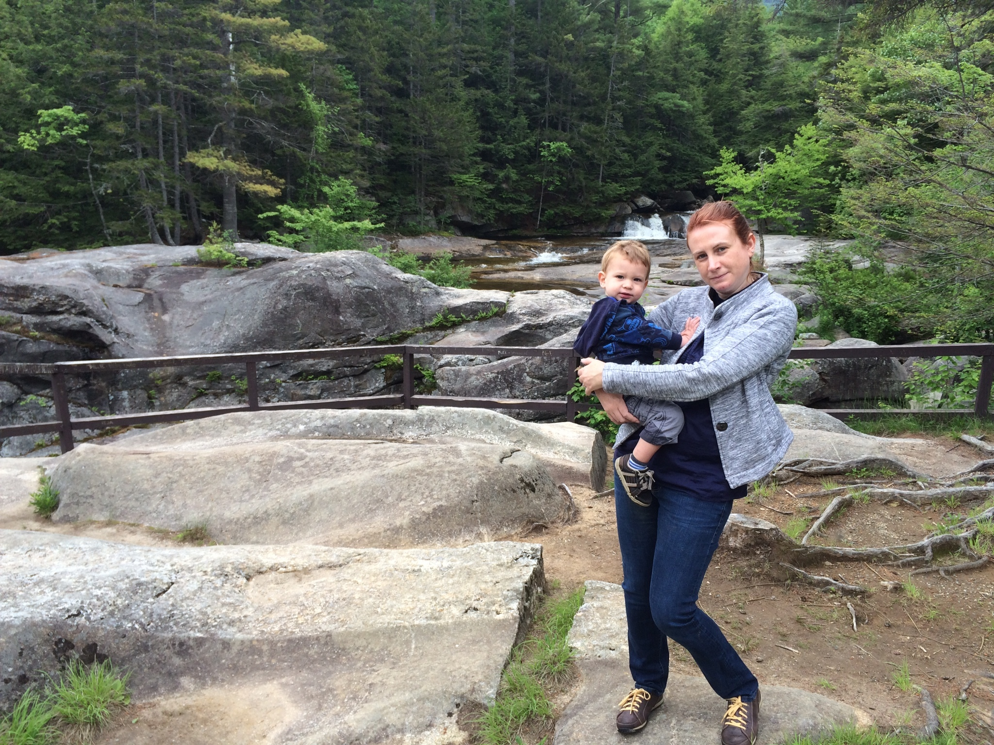 Lovely picture, right? Cute kid. Cure jacket. Lovely falls and rocks in the background. But, look! A ponytail and bad posture! Photo taken at Screw Auger Falls, in Grafton, Maine.
