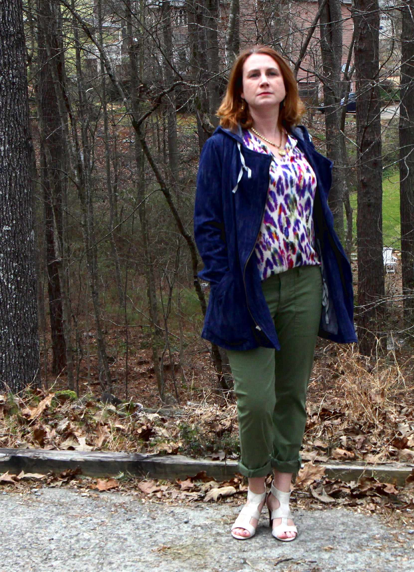 cabi Spring 2016 clothes :  Traveler Pants ,   Adventure Anorak ,   Plume Top ,  Dolce Charm Earrings ,  and the  Locket Necklace . Shoes are the  Unisa Eavvi Sandal  (at DSW).