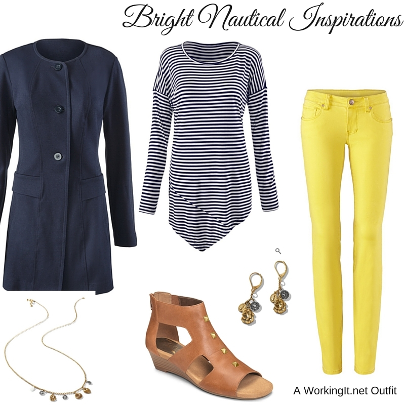Lido Jacket, Boat Stripe Tee , Citron Skinny  Curvy  or  Regular ,  Dolce Charm Earrings ,  Dolce Charm Necklace , all from cbai Spring 2016, along with the  Layette  sandals by Aerosoles.