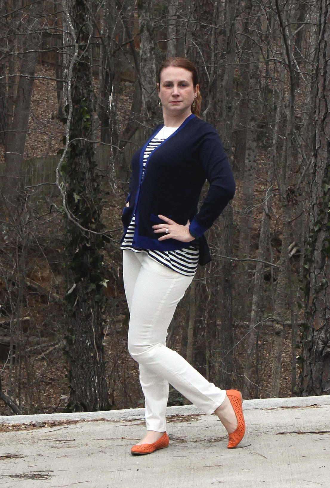 Outfit:  Michelle Cardigan ,  Slimmie  jeans,  First Mate Tee ,  Dolce Charm Earrings  from  cabi Spring 2016 .The cardigan and jeans are a size too big--expect a closer fit. Shoes are the  Restricted Newport Flat  from DSW.
