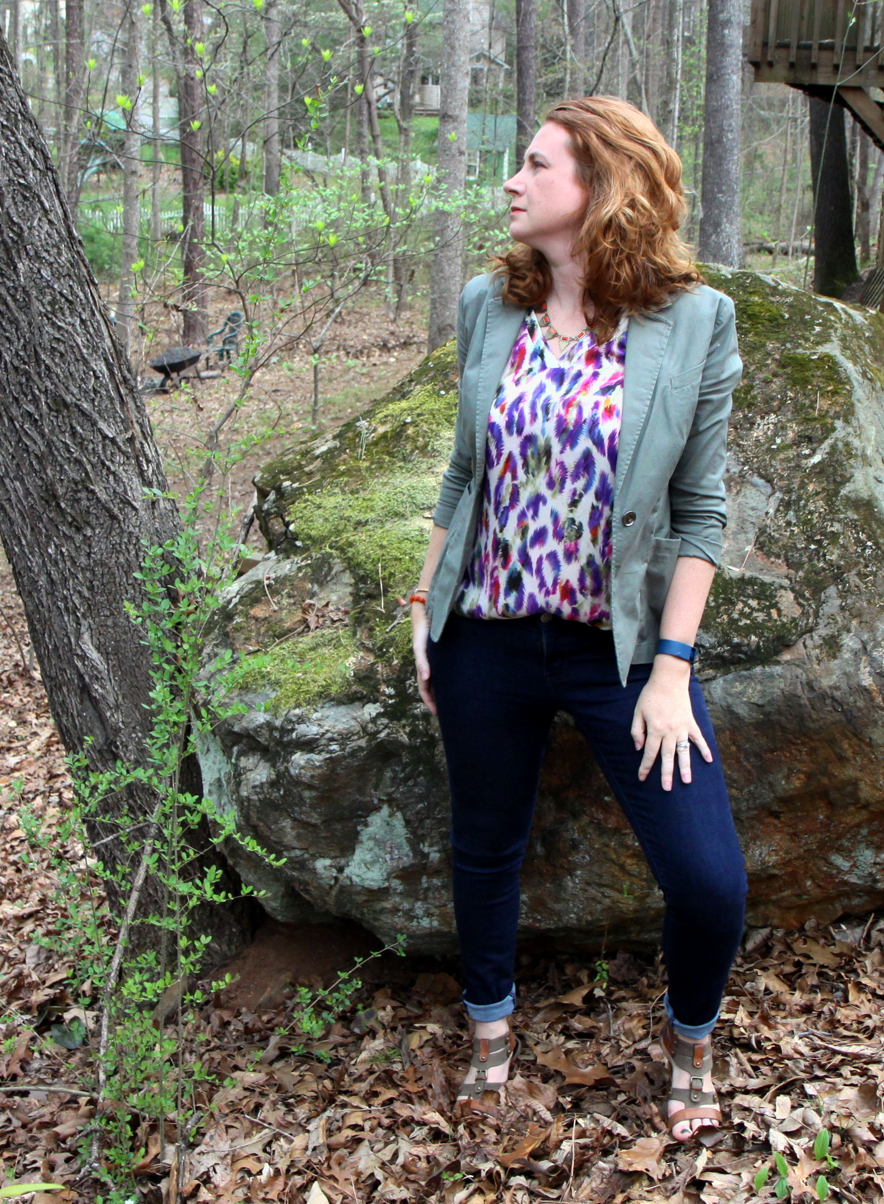 Outfit:  Plume Top  from cabi Spring 2016. Knight Skinny Jean from cabi Fall 2015. Olive Jacket from cabi Spring 2015.  Metal Statement Neck with Cabs  from Target. Orange Quartz bracelet by  Solid Treasures . Shoes Older, not sure of brand.