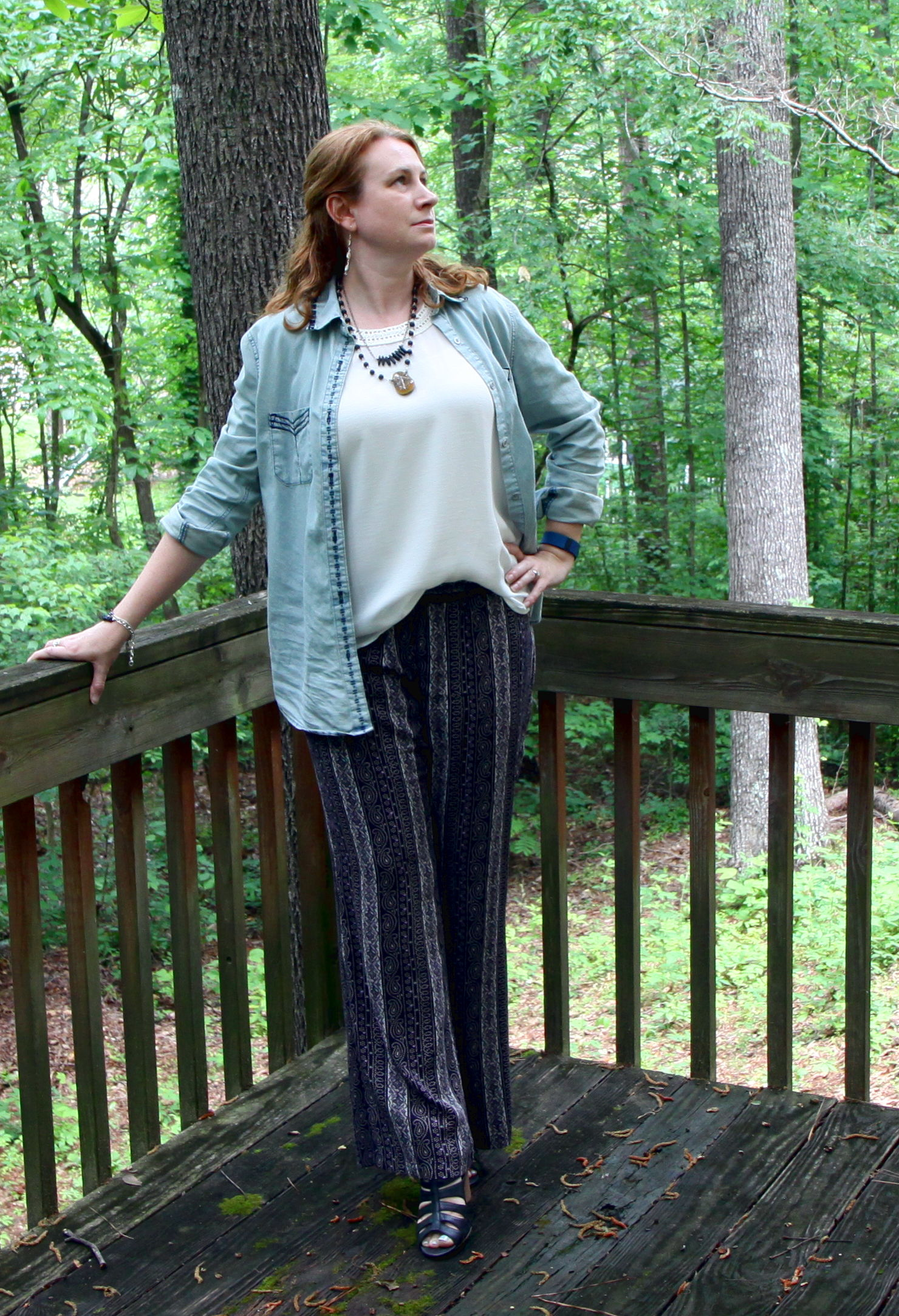 Outfit:  Bardot Shirt ,  Villa Pant , and the  Marisa Top  from cabi Spring 2016. Earrings and Necklaces by  Shine Chaser Jewelry . Bracelets by  Solid Treasures .  Acme Bootie    by Crown Vintage, sold at DSW.