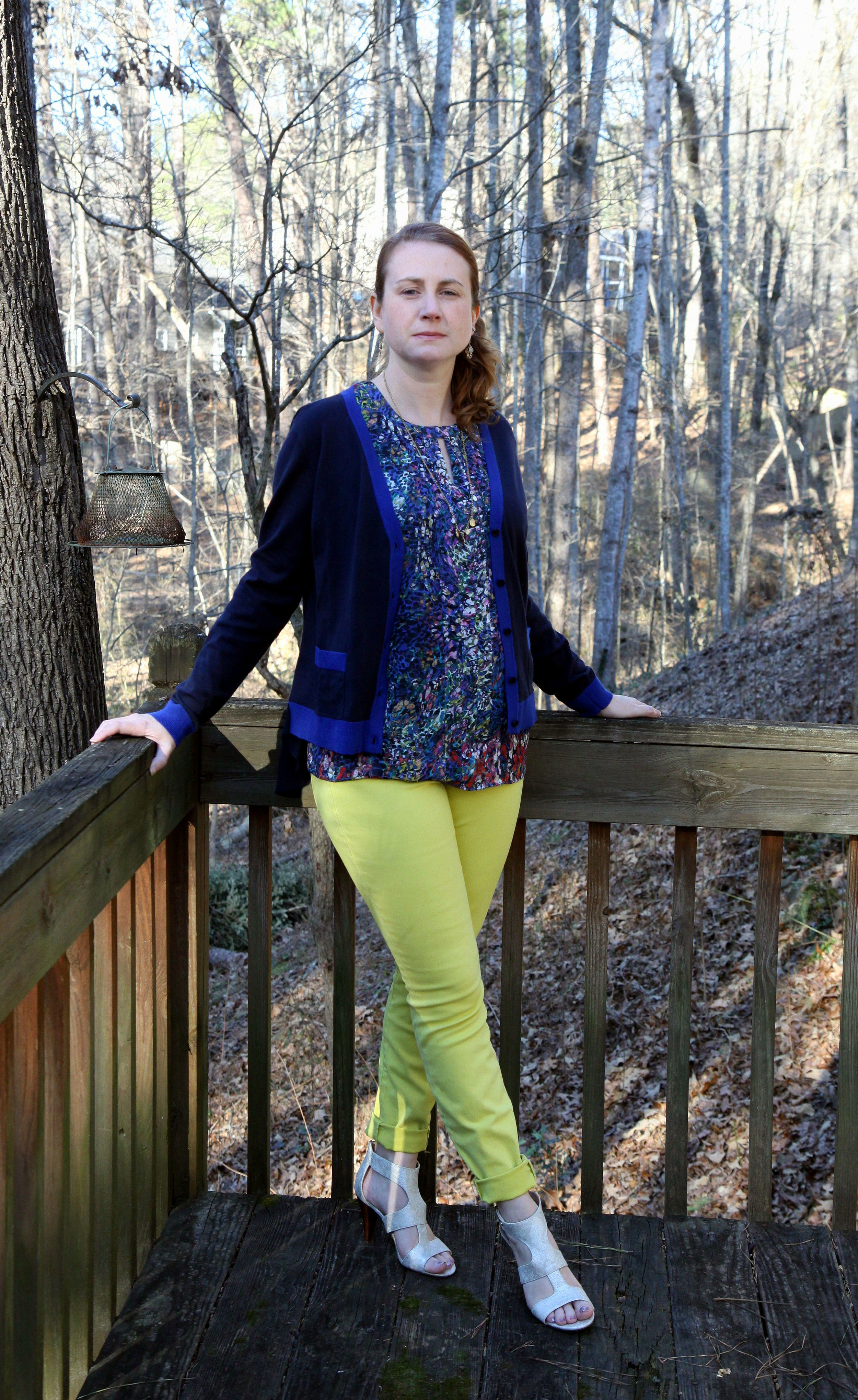 Outfit: Stained Glass Blouse from cabi Fall 2015.  Citron Curvy Skinny  jean (also available in  regular ),  Michelle Cardigan ,  Dolce Charm Earrings , and  Dolce Charm Necklace   from cabi Spring 2016. With the  Unisa Eavvi Sandal  sold at DSW.