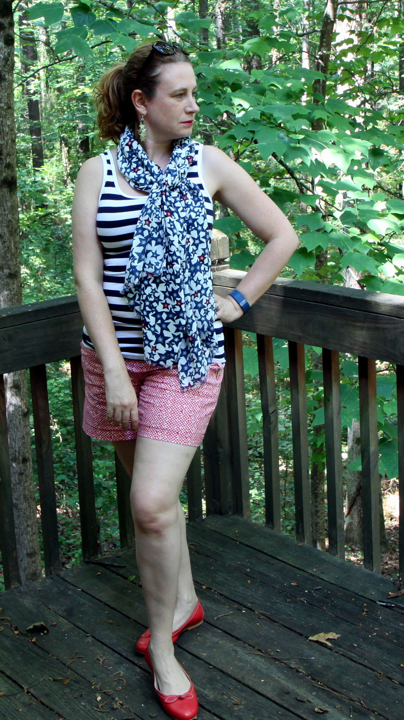 Striped Favorite Tank, Picnic Short,   Star Print Scarf , and the  Bow Ballet Flats