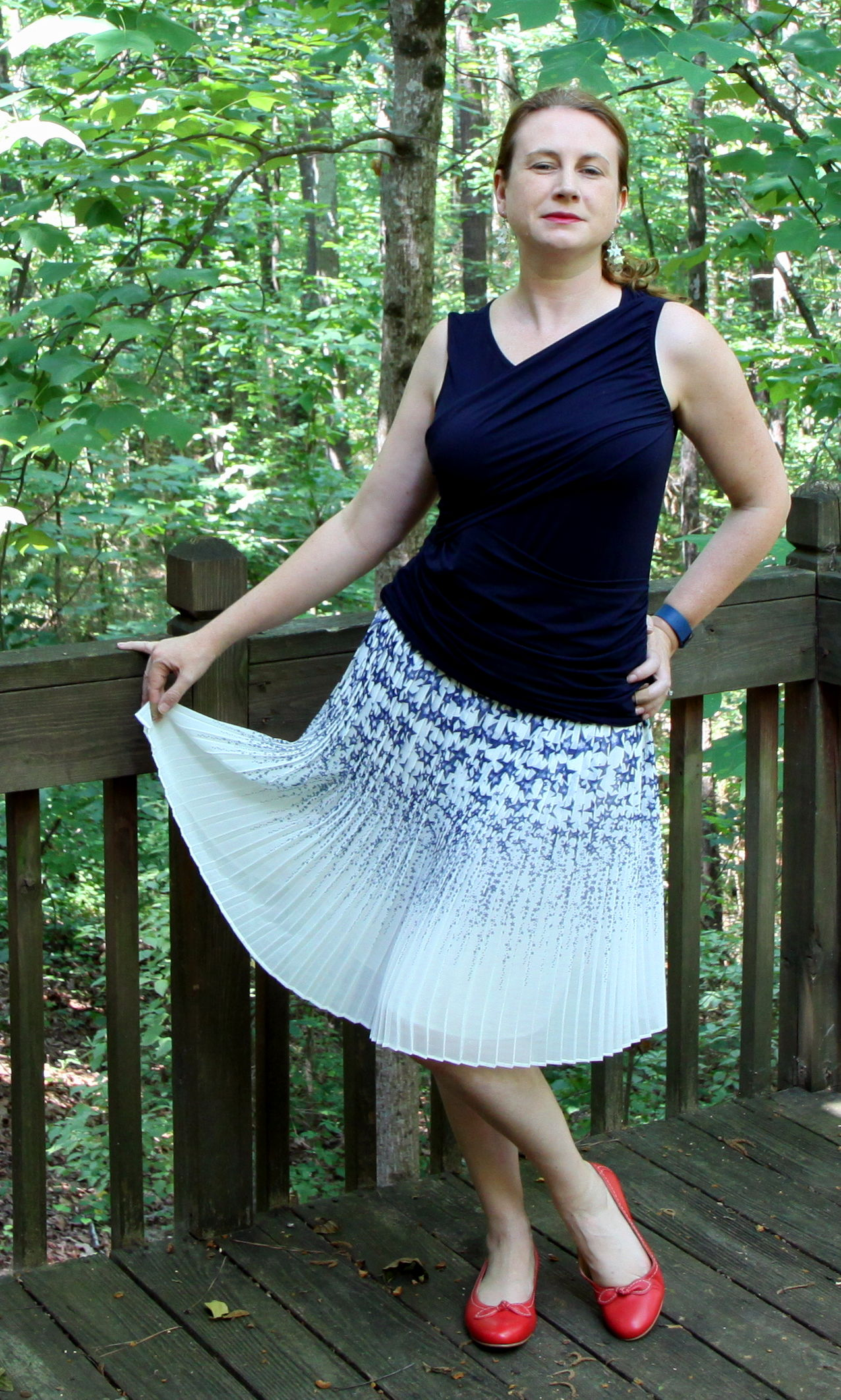 Pleated Star Skirt,   Sleeveless Double Drape Tee,  and  Bow Ballet Flats.