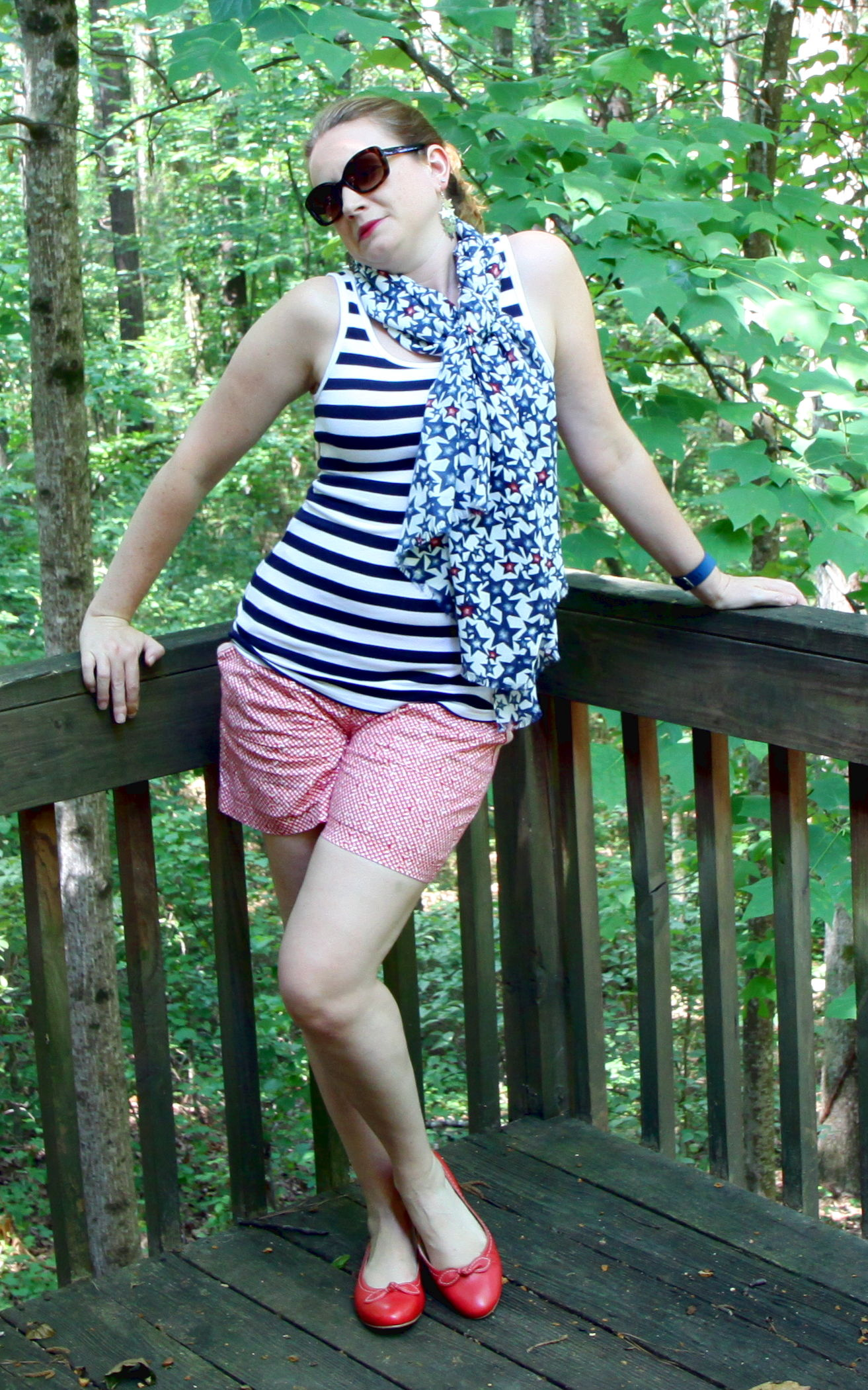 This scarf is clearly ready for the Fourth--but think of all the ways you can wear it all summer long!  OUTFIT:   STRIPED FAVORITE TANK, PICNIC SHORT,   STAR PRINT SCARF  , AND THE   BOW BALLET FLATS