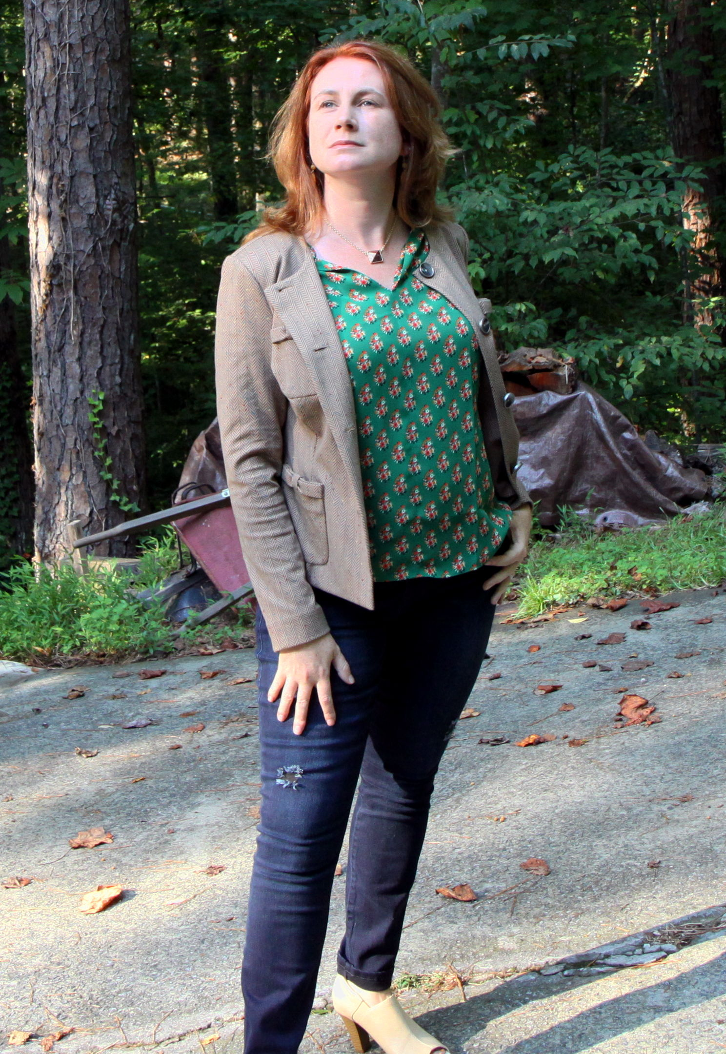 Fall 2016 cabi:  Penny Blazer ,  Stevie Top , Dark Destructed Skinny  Curvy  (or  regular ),  Cameo Earrings ,  Pyramid Necklace , and the Bird Cage shoes by Aerosoles.