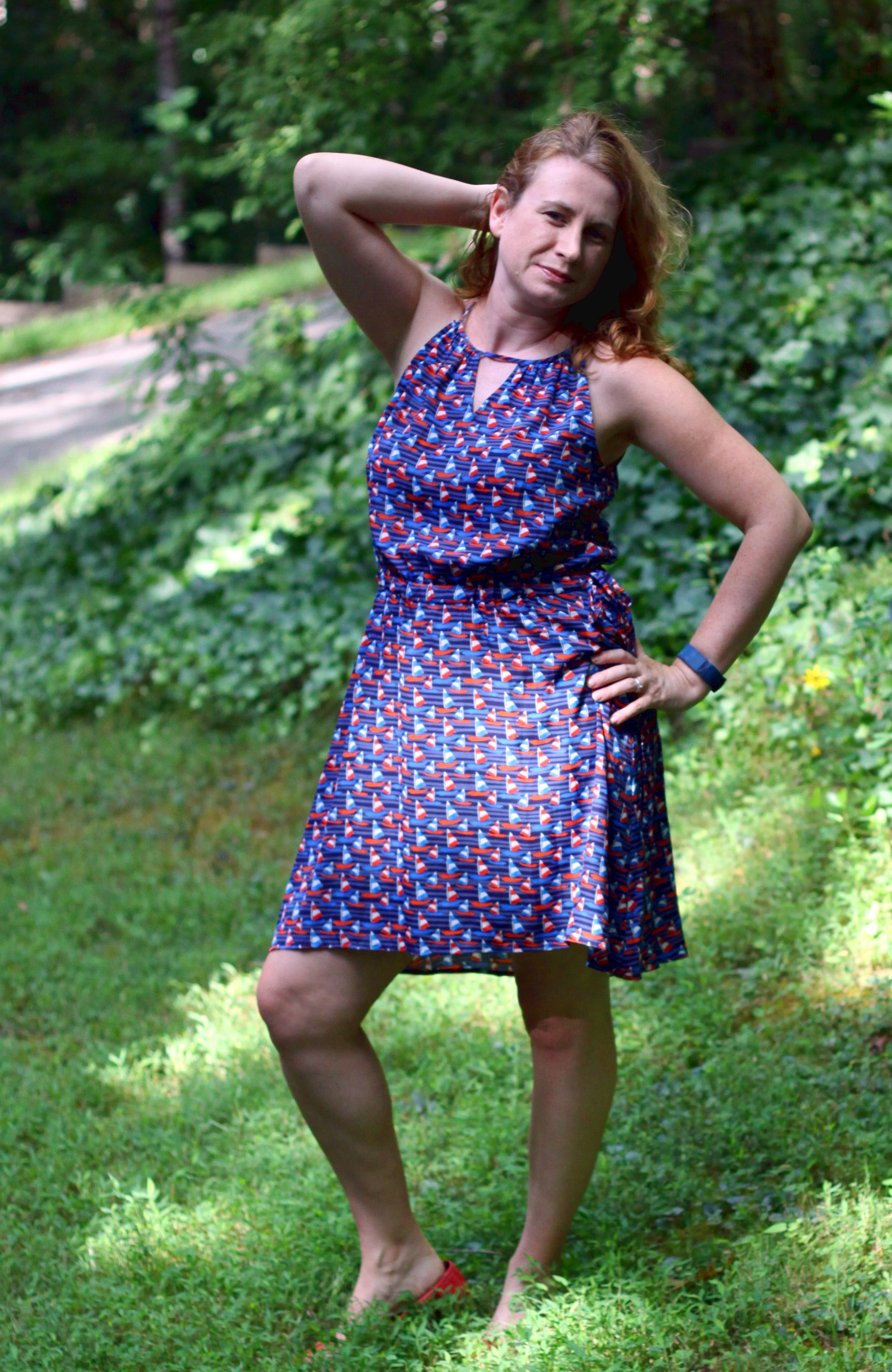 Tammi Print Dress from Stitch Fix along with  along with older  Stella & Dot  earrings and  Bow Ballet Flats  from Canvas by Land's End.