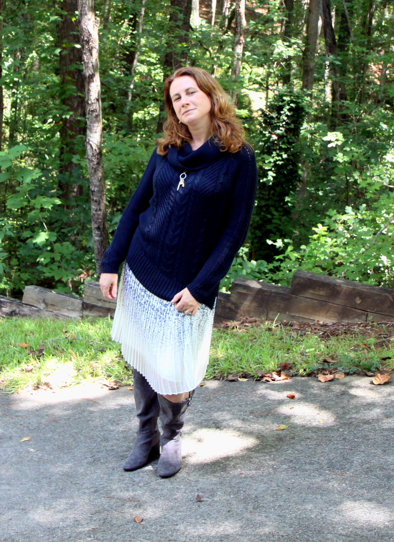 Pleated Star Skirt  from Canvas by Lands' End paired with the cabi Fall 2016  Cable Cowl  sweater and  Chelsea Charm Necklace . Boots are  Wonderful  by Aerosoles.