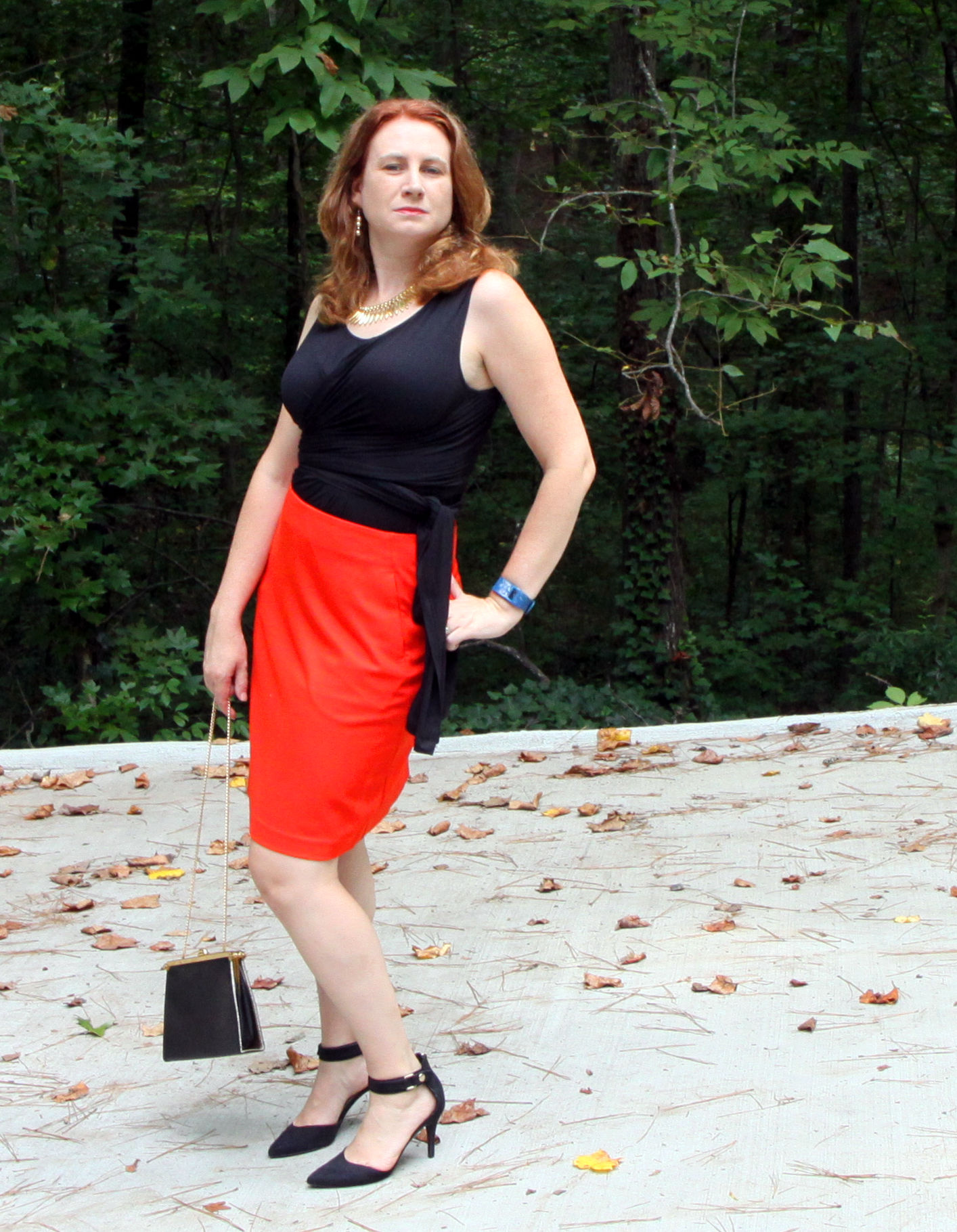 Beyond Tee  and the  Fiery Skirt  from cabi Fall 2016. Older target shoes, vintage purse, older earrings, Midas Leaf Collar from  Baubleba r.