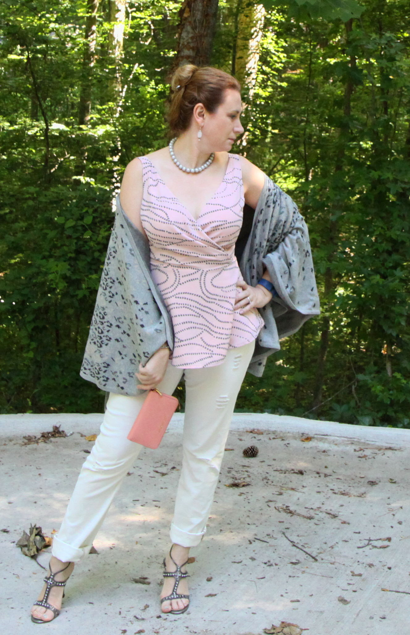 3.  Destructed White POW: Pretty in Pink & Pearls Sunday Best