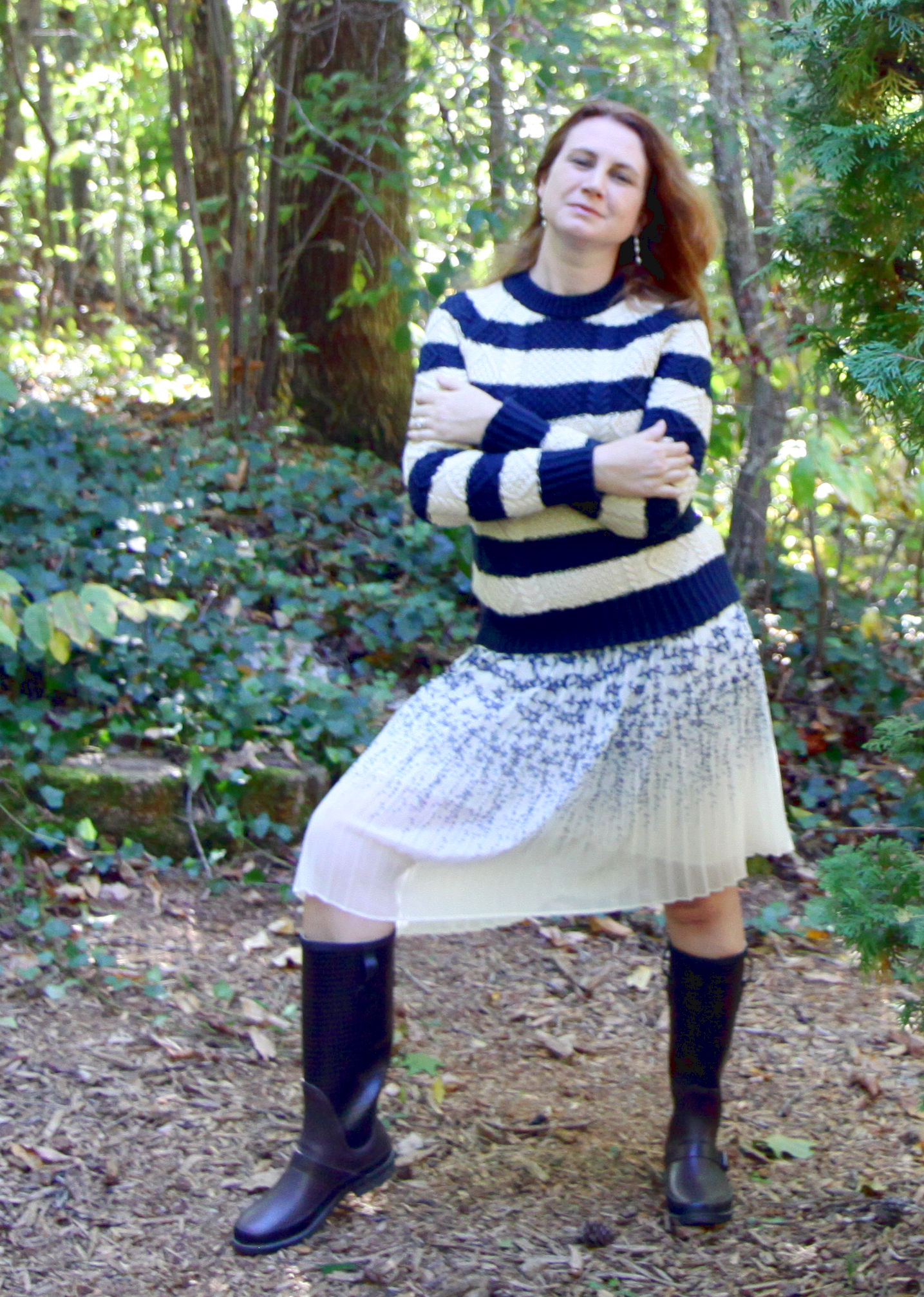 Fun and cozy, right? Wearing my newbeloved  Wellie Rain Boots  from LL Bean and their  Signature Cotton Fisherman Sweater .  Pleated Star Skirt    from Canvas by Lands' End.