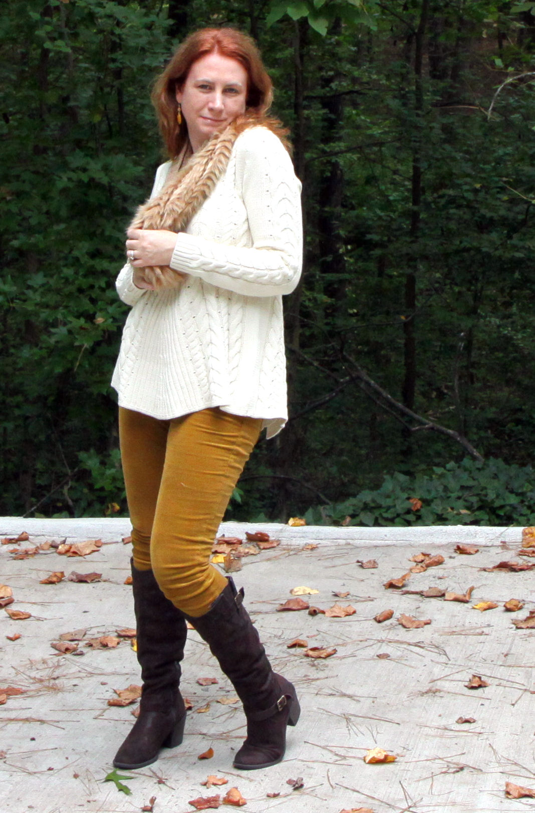 Duchess Scarf,     Skinny Cord  and  Lace-up Sweater