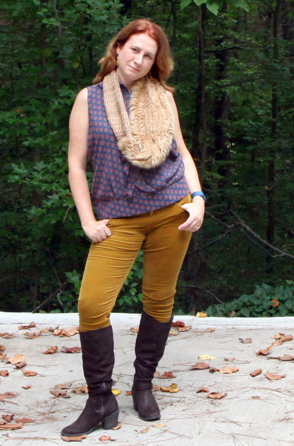 Medallion Reign Blouse, Skinny Cord , and the  Duchess Scarf
