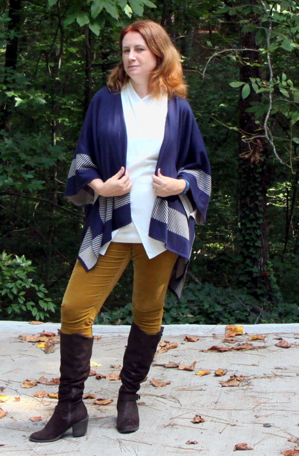 Reversible Wrap Sweater,    Wraparound Top , and  Skinny Cord