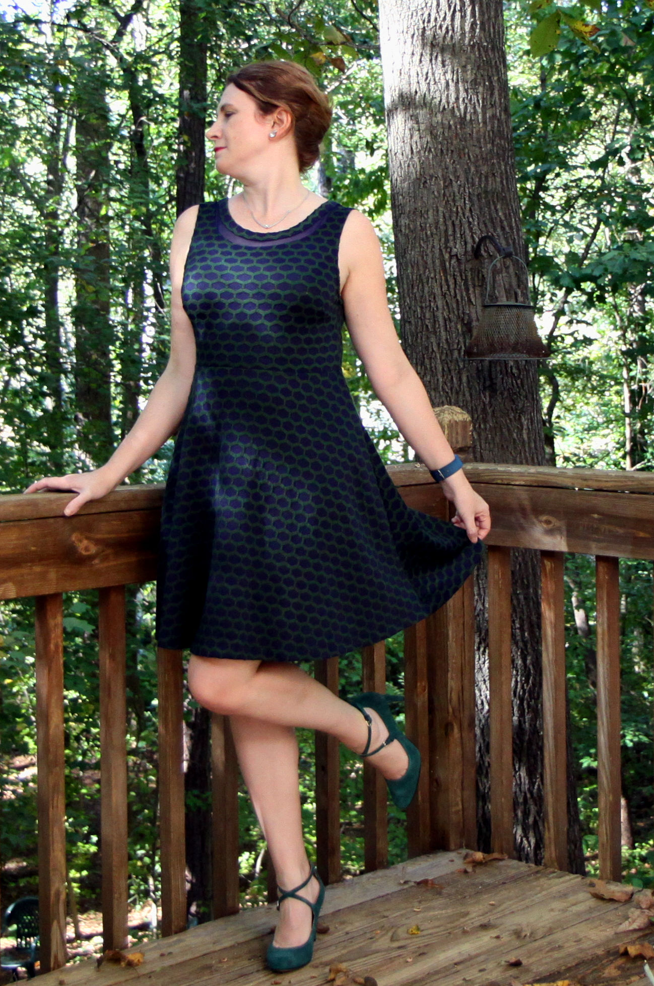 Look at these shoes! And the cute dress! Sadly, I've only worn this outfit once, besides the photo shoot! I have only worn this dress for this photo shoot! Millie textured Knit Dress by Pixley with Hannley Mary Jane Strappy Pump by Nine West, both from  Stitch Fix .