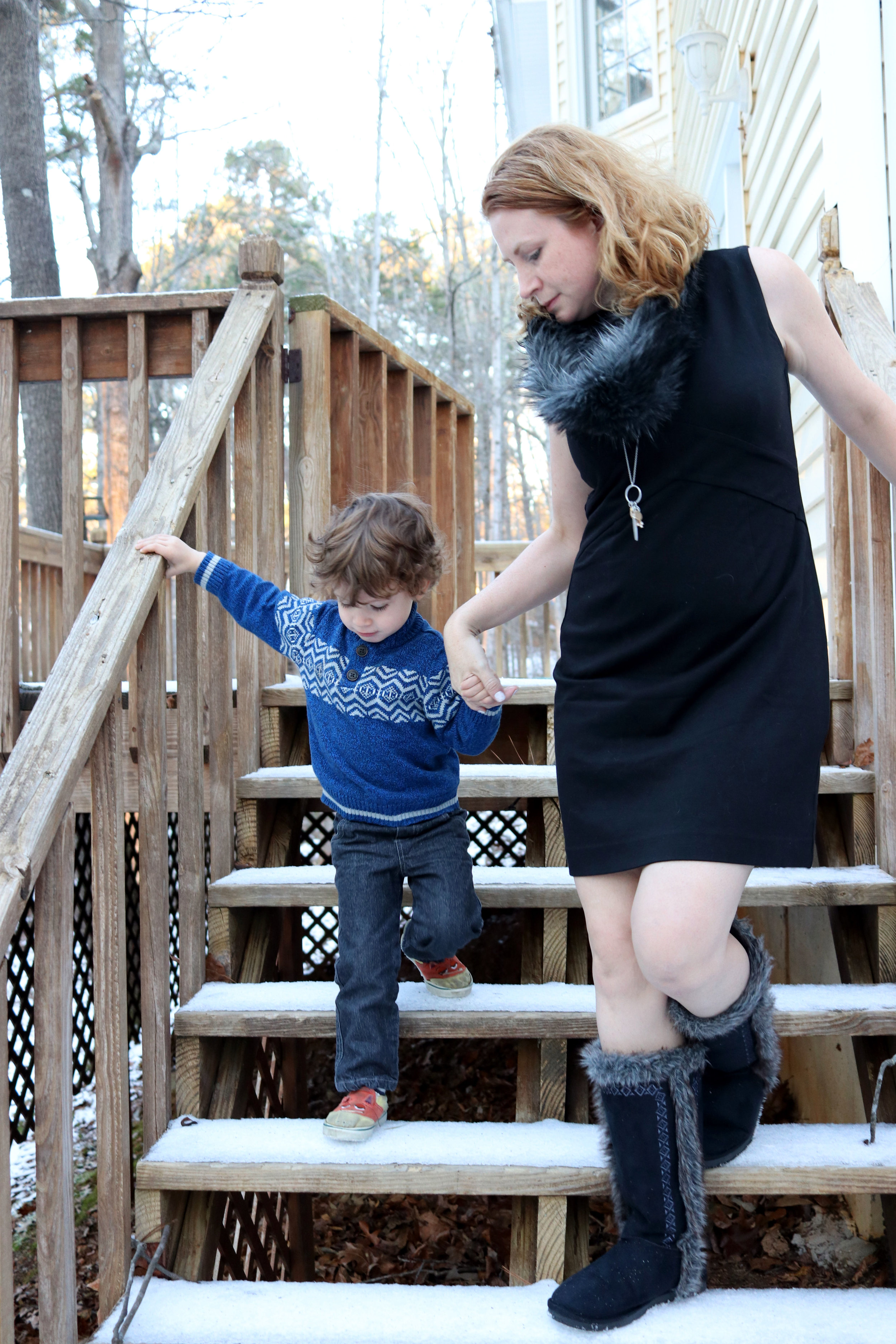 cabi fall 2016:  Edie Dress,   Foxy Scarf ,  Rock Star Earrings,  and  Chelsea Charm Necklace.     JustFab : Duluth Fuzzies and Lace Up choker.  Kid in  OshKosh .