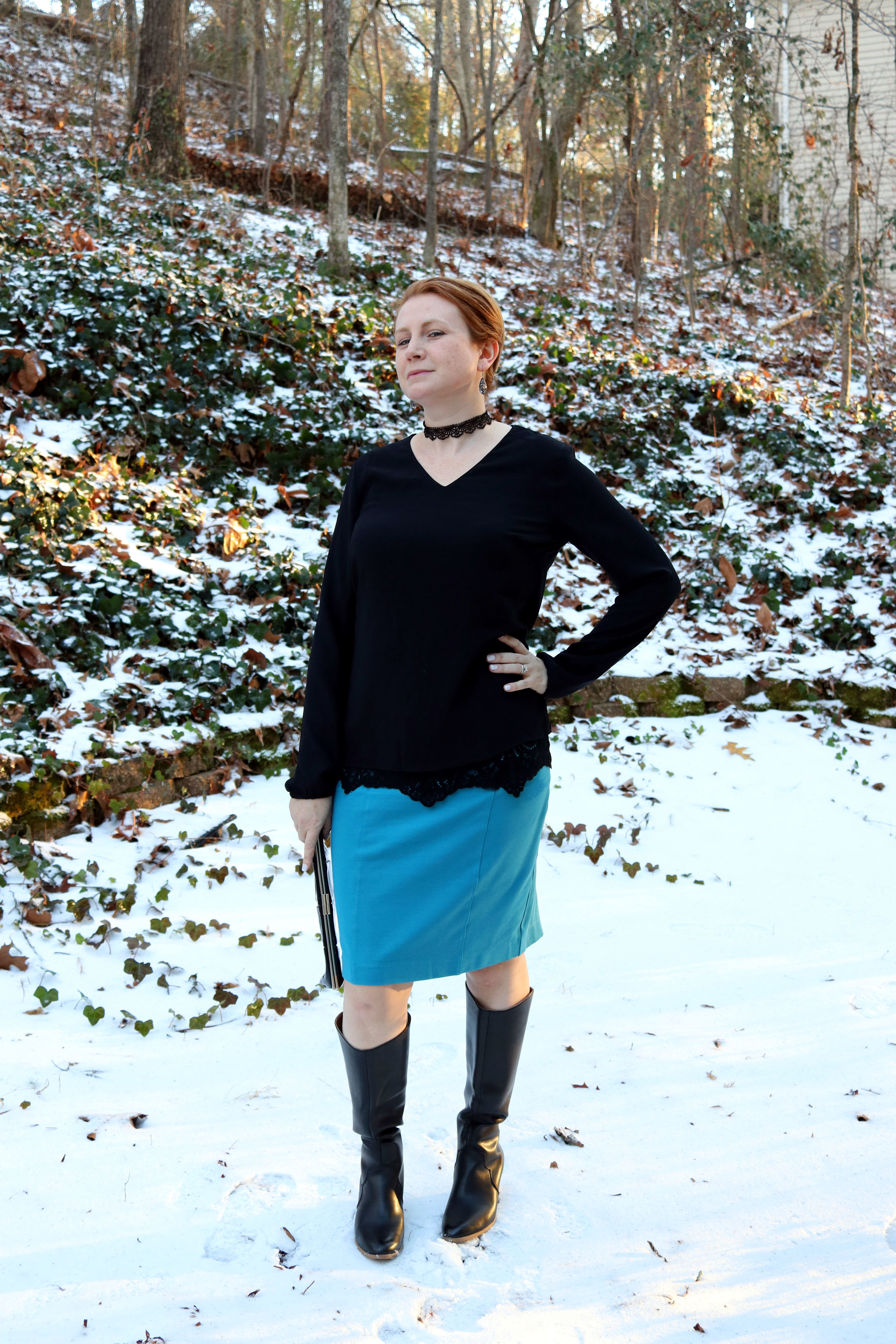Sigourney skirt and Tempest Blouse from cabi clothing Fall 2016. Boots and choker from JustFab. Clutch older.