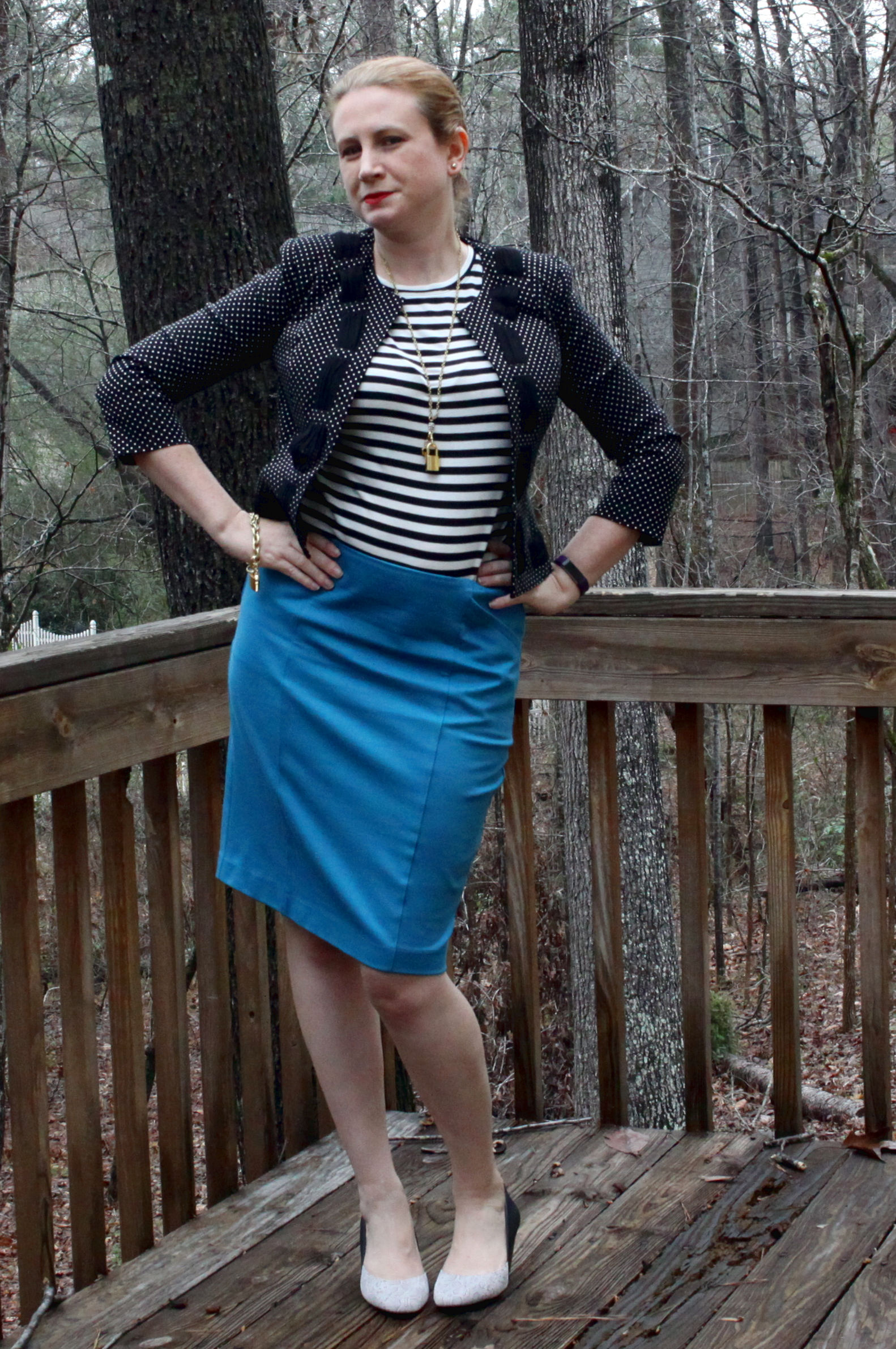 Sigourney skirt from cabi Fall 2016.  Bistro Tee ,  Dot Jacket ,  Lock & Key Necklace , and  Lock & Key Bracelet  from cabi clothing Spring 2017. Shoes are from  Stitch Fix .
