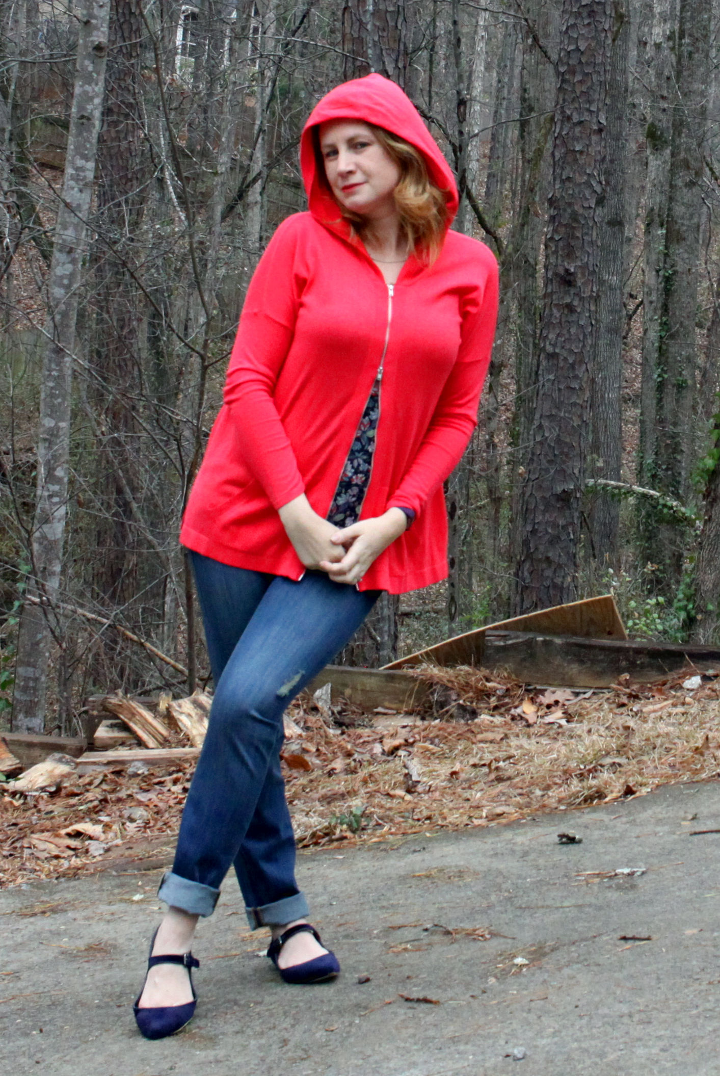 Beachcomber Hoodie,   Mojave Slim Boyfriend ,  Flirt Cami , and the  Sea Knot Necklace  from cabi Spring 2017 and the with  Pointed Mary Jane Velvet Flats  from Canvas by Lands' End.