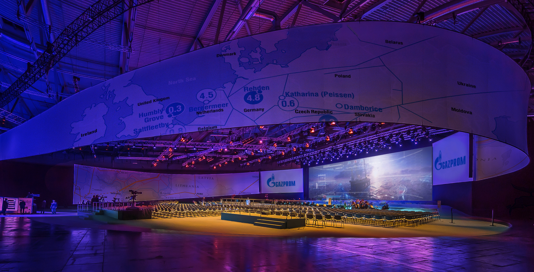 To mark the launch of Gazprom's Nord Stream, Moscow agency RMAA asked MannCG to help bring to life and illustrate a journey of a gas through the pipeline. The team met the challenge by contributing with an idea of dynamic changing environments, giving visitors the illusion of an exciting journey. MannCG developed an immersive 360 film and series of interactive projections, which animated the map as visitors walked by.