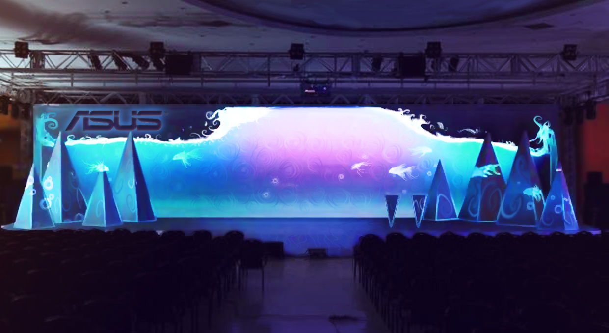 MannCG produced range of immersive motion graphics for Asus computer launch, including effects that enhanced depth. The project included numerous of mapped elements, as well as large multimedia stage screen. Overall, MannCG was able to create visually appealing environments which promoted constant innovation as mission of the brand.