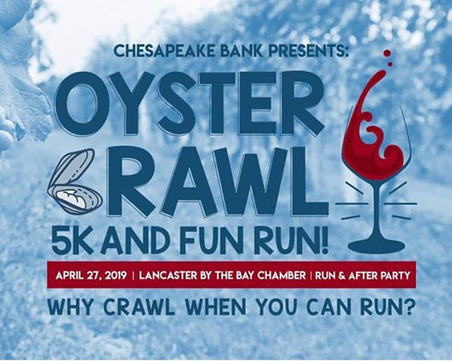 Have you signed up yet for the @lancasterbythebay inaugural Oyster Crawl 5k and Fun Run on April 27?! Irvington, wine, oysters, kid and pet-friendly with awesome music- what are you waiting for?