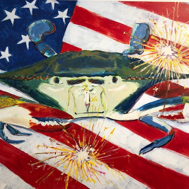 🇺🇸 Happy 4th! 🇺🇸⁣⁣ ⁣⁣ 💥 Open normal hours today (7a-4p), and don't forget the Irvington 4th of July Parade starts at 10 am 💥 ⁣⁣ ⁣⁣ Patriotic crab artwork by the talented @johannacarringtonpaintings available for sale in the shop. 🦀 🇺🇸
