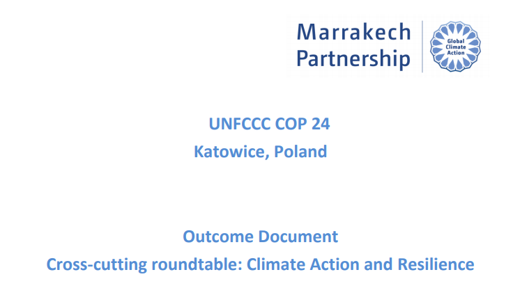 COP 24 Resilience Roundtable Outcome Document -