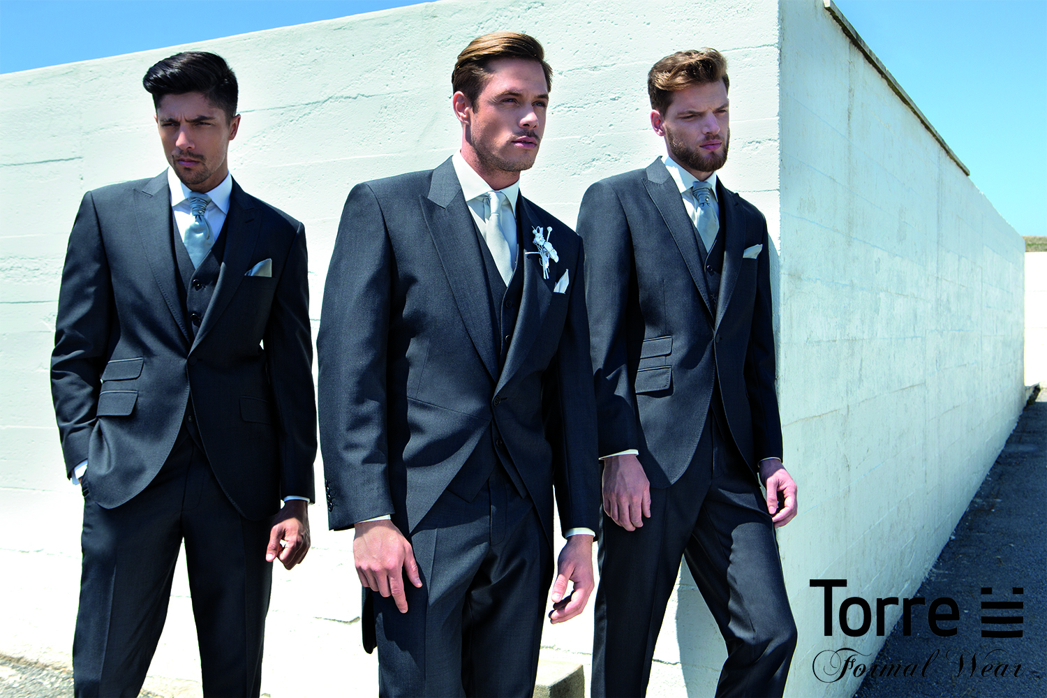 Charcoal Tails or slimfit lounge suit. Hire package from £120. Hire package includes Jacket, Trousers, waistcoat, shirt, neckwear, handkerchief & accidental insurance. Available to purchase from £499