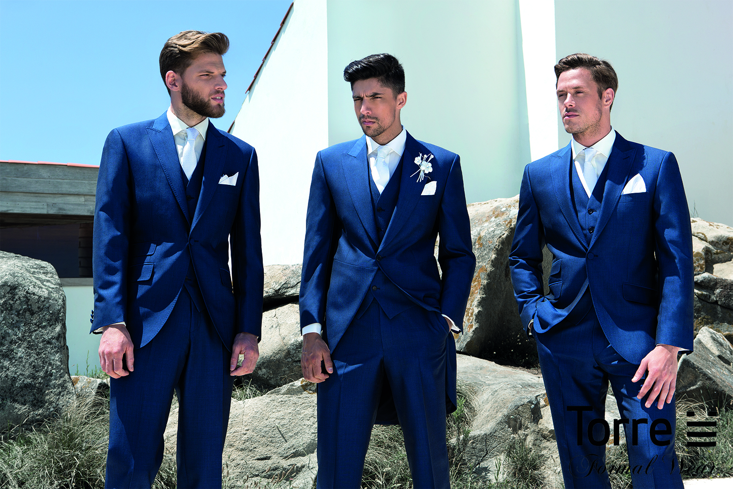 Royal blue Tails or slimfit lounge suit. Hire package from £120. Available to purchase from £499 Hire package includes Jacket, Trousers, waistcoat, shirt, neckwear, handkerchief & accidental insurance.