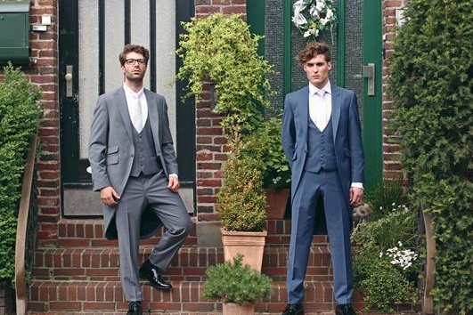 French Blue slimfit Tails or lounge suit. Hire package from £140. Available to purchase from £550.   Hire package includes Jacket, Trousers, waistcoat, shirt, neckwear, handkerchief & accidental insurance.