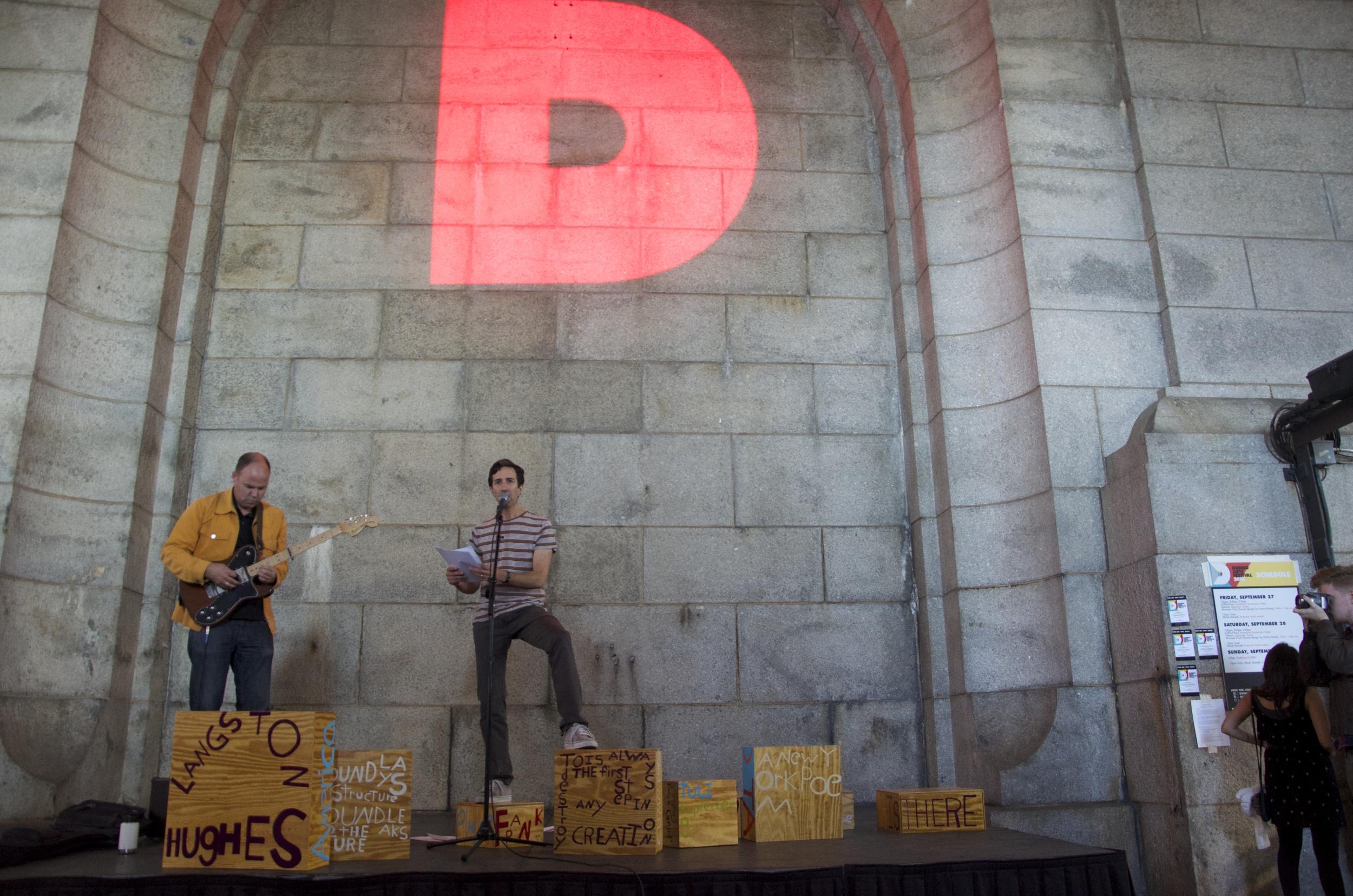 Poet Sculpture, DUMBO Arts Festival, David Grubbs, Vincent Katz, Brooklyn, NY 2013.jpg
