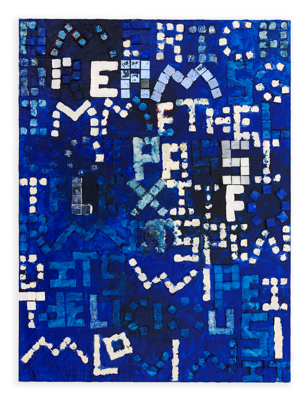 America Dreams , 2013, Acrylic and glass tile on wood, 40 x 30 in