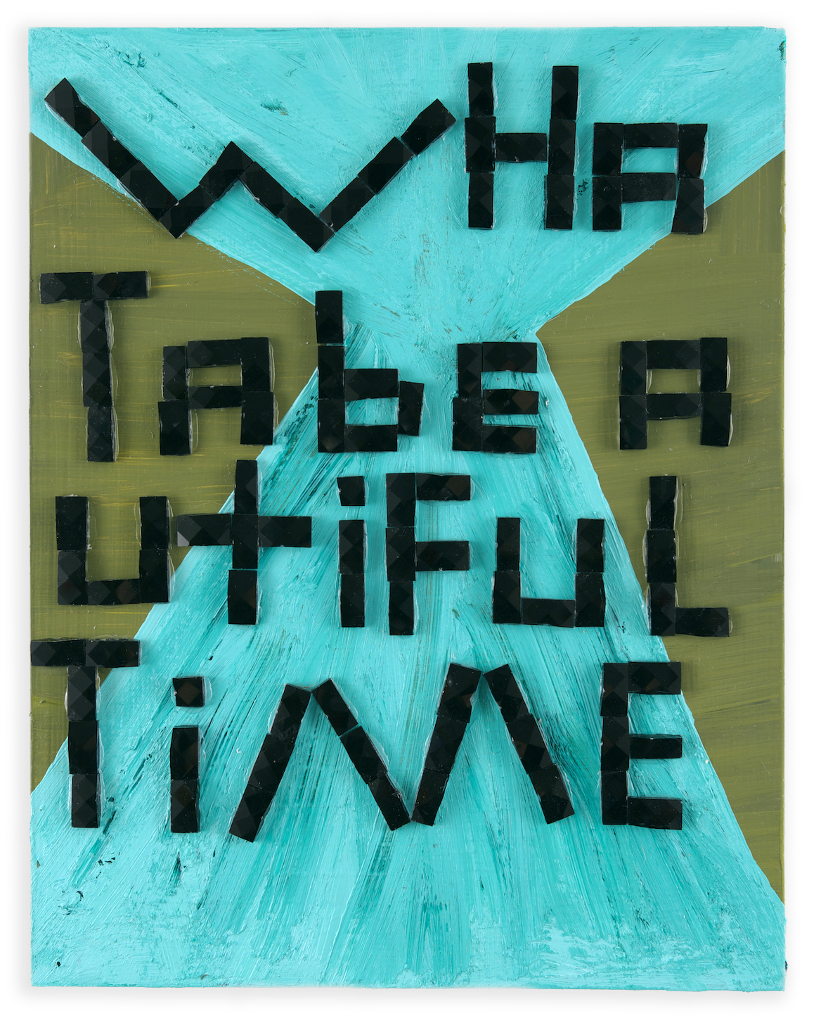 Beautiful Time , 2014, acrylic and glass tile on wood, 14 x 11 in