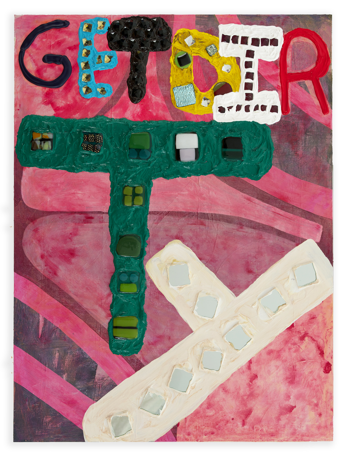Get Dirty , 2014, acrylic, glass tile, and fused glass on wood, 40 x 30 in