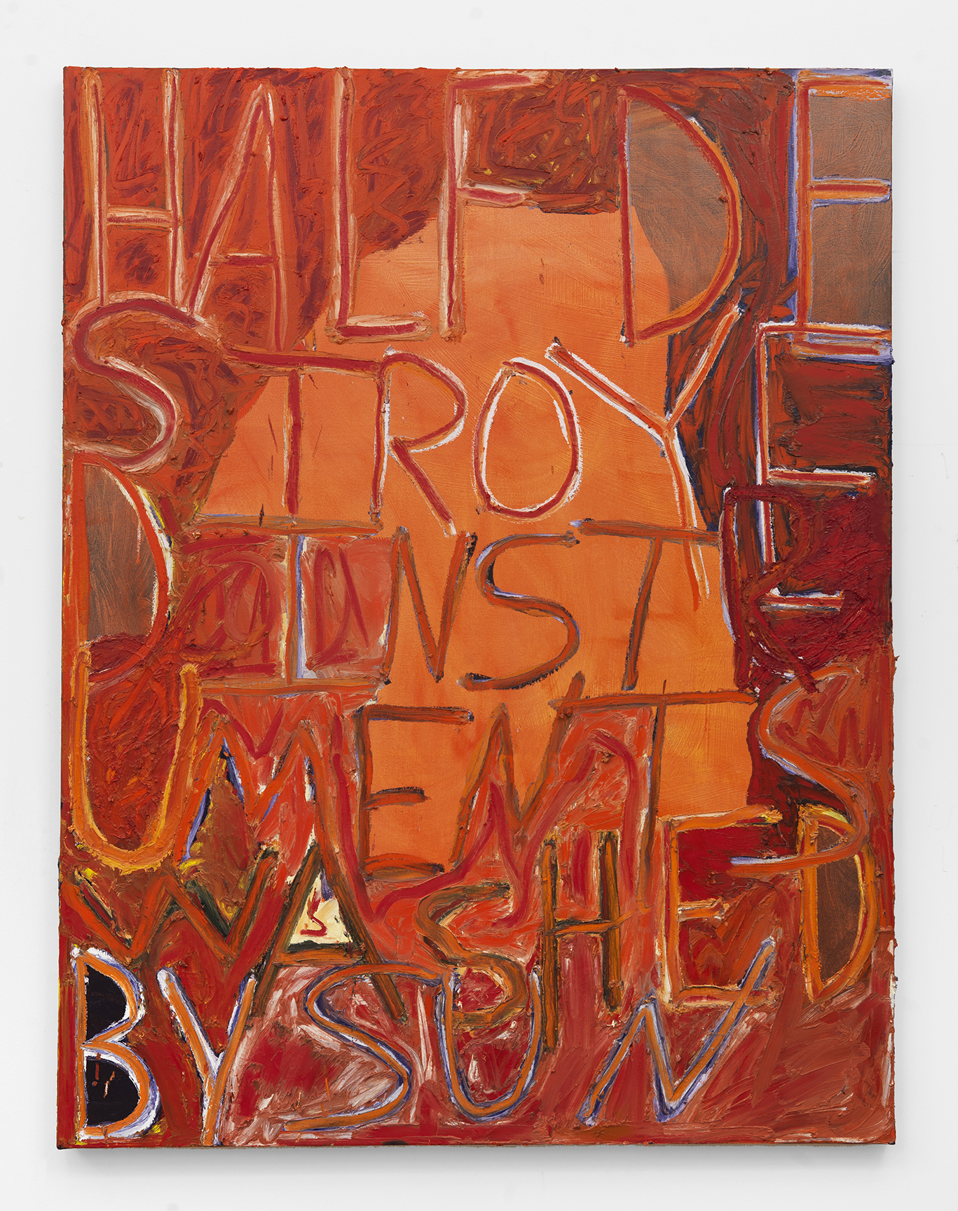 Half Destroyed Instruments Washed By Sun, 2018 Oil and Acrylic on canvas 57 x 43 inches