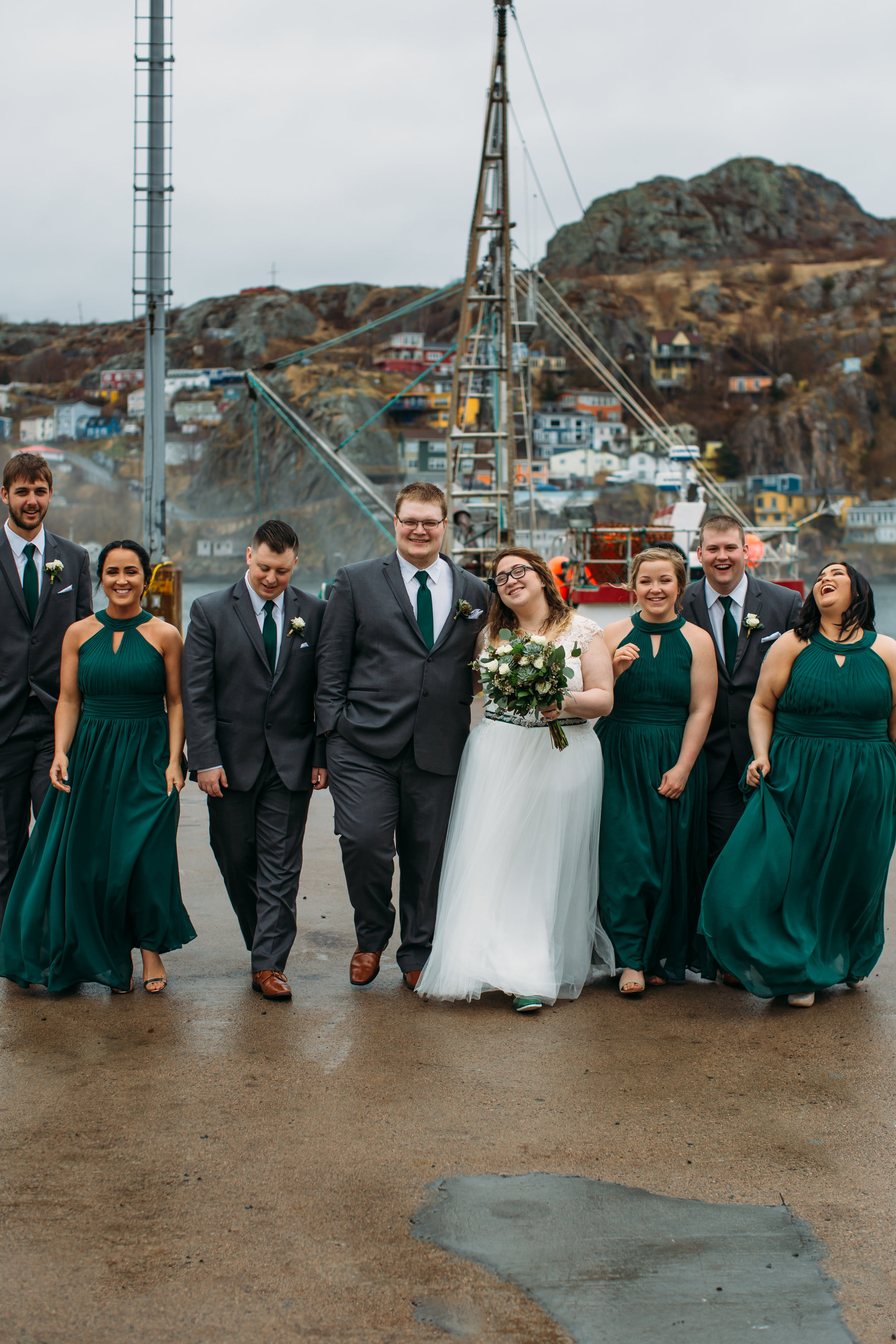 weddng party walking - fort amherst St. John's, Newfoundland