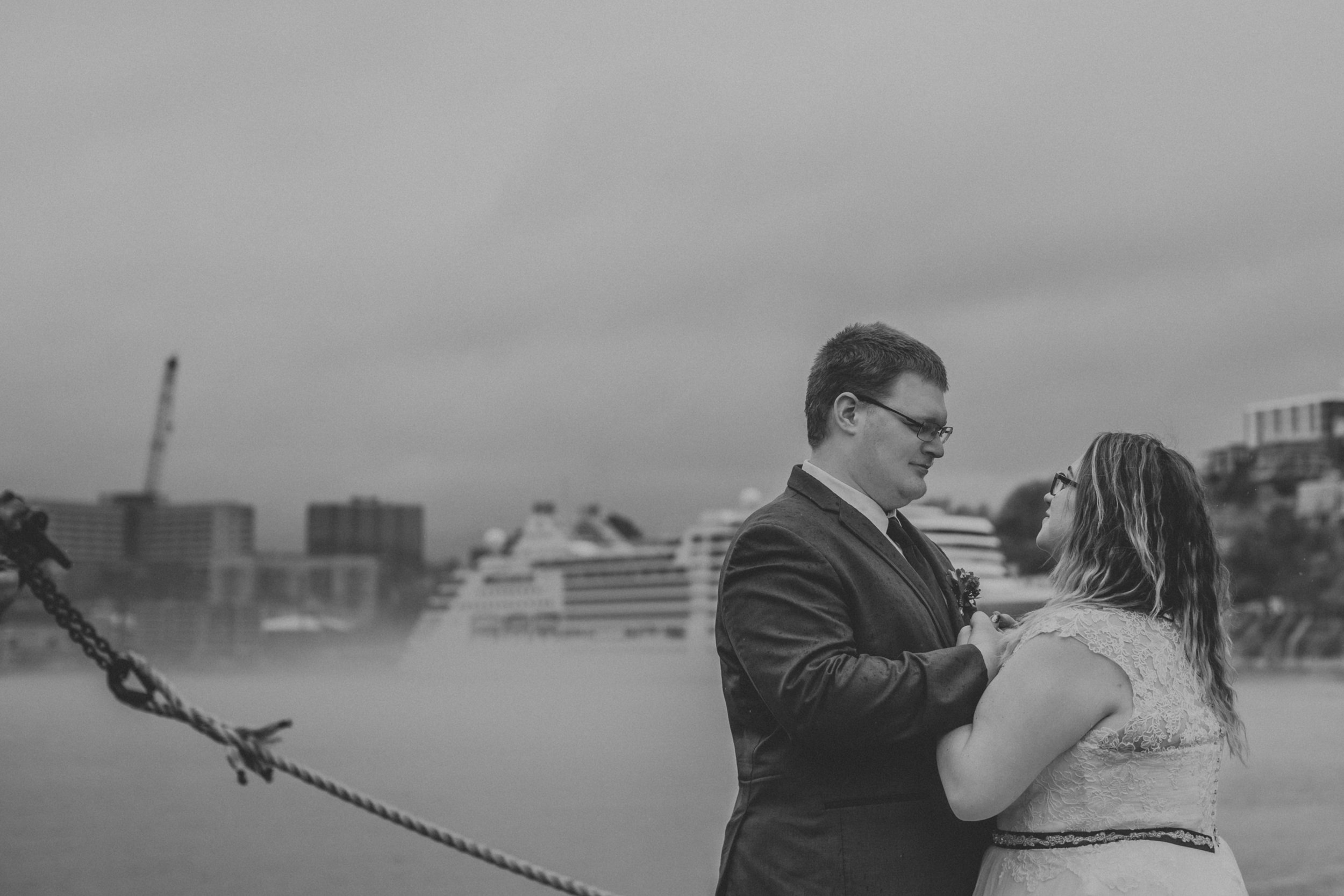 Wedding downtown St. John's with cruise ship