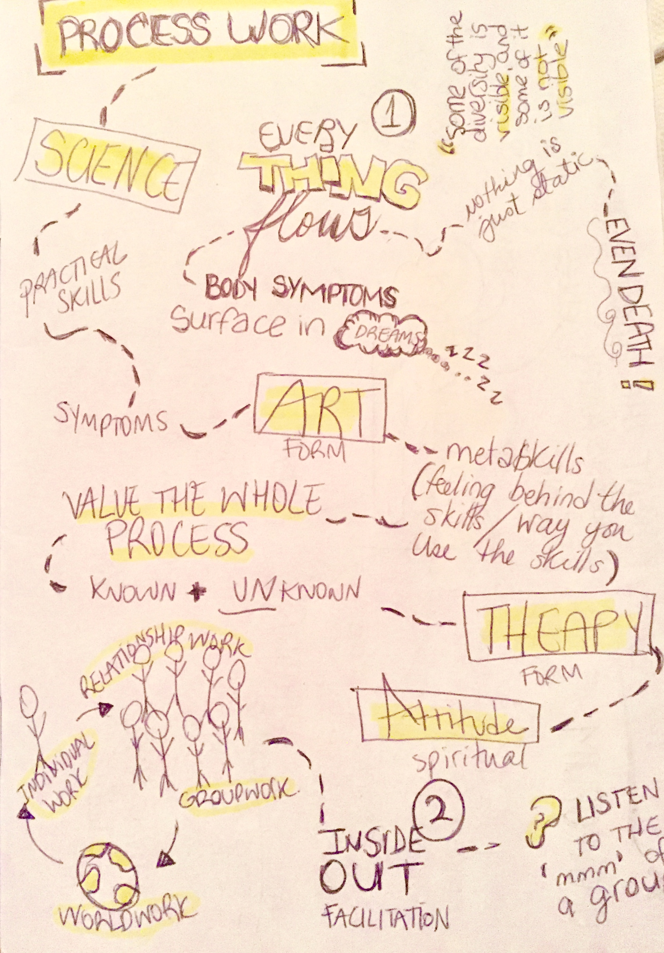 A visual harvest I put together in my notes, of what captures the essence of Processwork, from early introduction classes (this by no means is a comprehensive capture).