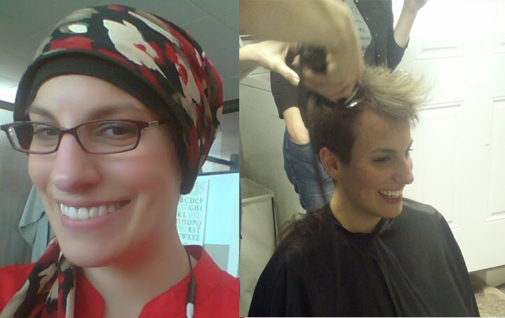 Amy rocking a head scarf and getting her head shaved.
