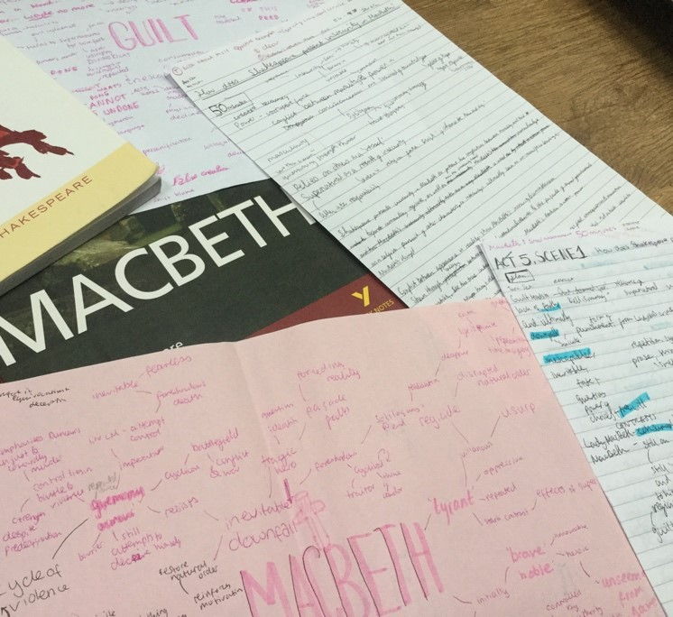 Some of my notes on ' Macbeth '. As you can see there's a mix of mind maps and bullet pointed lists. I used these to better understand the points I could make about characters, themes and scenes in the play.