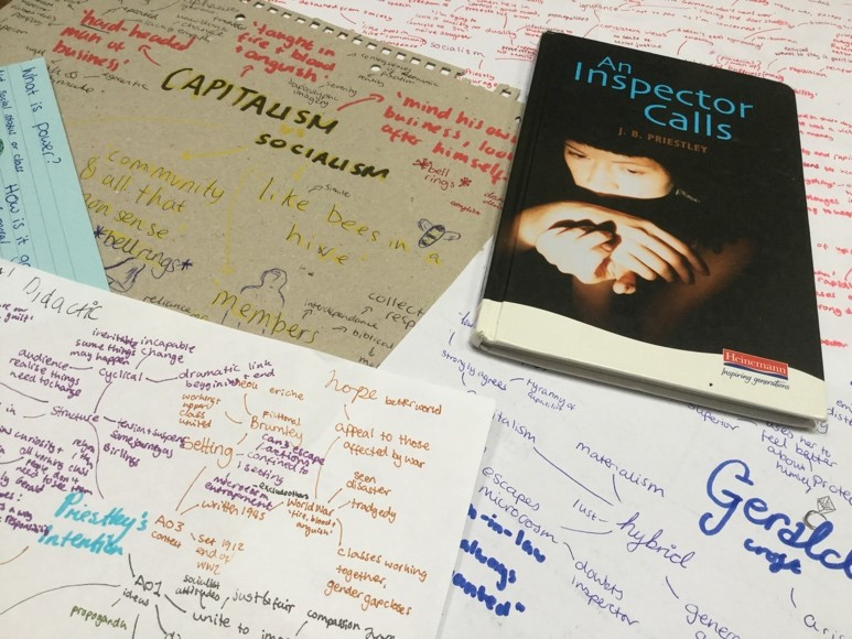 Some of my mind maps for 'An Inspector Calls'. I used different colours to help draw my attention to quotes.