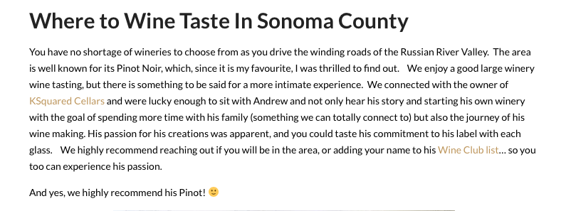 Thank you for the shout out Julie Nowell! It was an absolute pleasure meeting you and your crew!  Be sure to read Julie's outstanding article where she shares her opinion on a few of the many outstanding places in Sonoma County!   http://www.3chickensandaboat.com/sonoma-county/