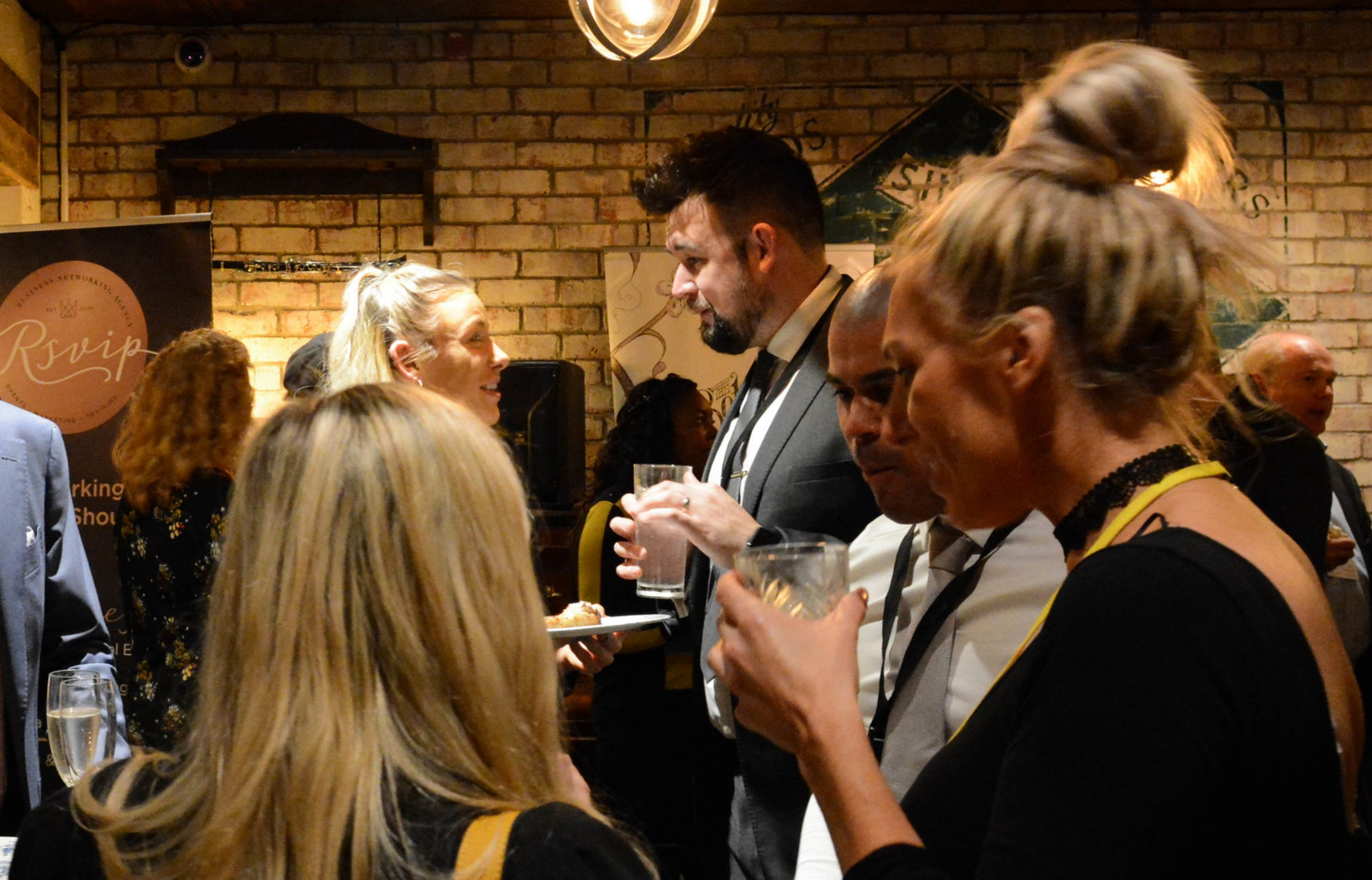 Discussing the benefits of yoga for busy professionals at the  RSViP  business networking event in Nottingham. Image Credit - Steve Edwards  Autoholic Photography